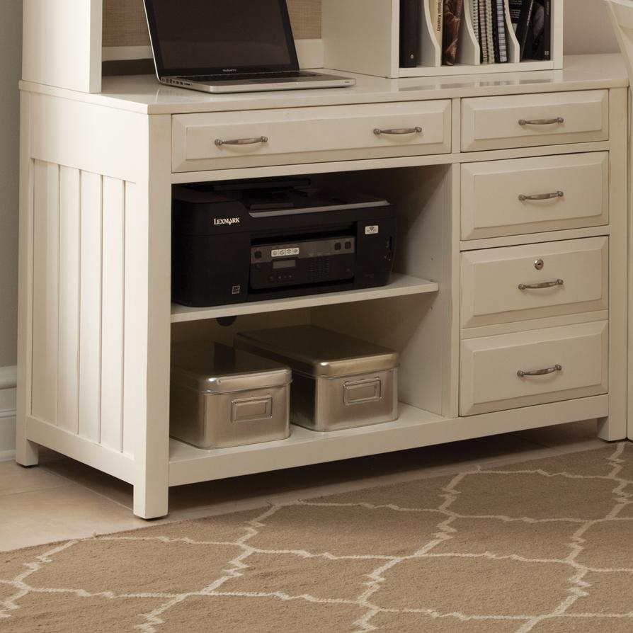 Hampton Bay White Computer Credenza With Shelves And