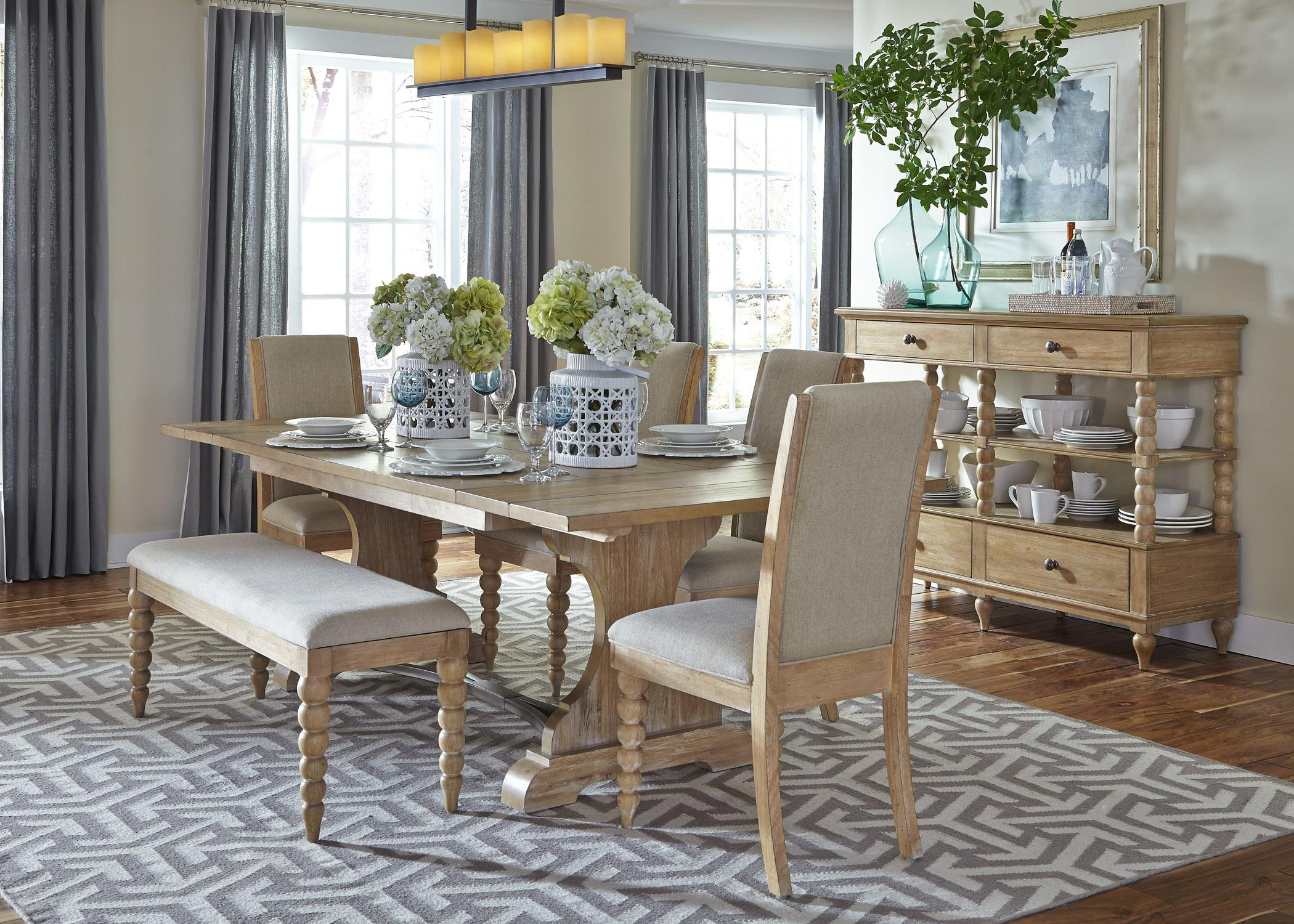 Harbor View Trestle Table and 4 Upholstered Side Chairs