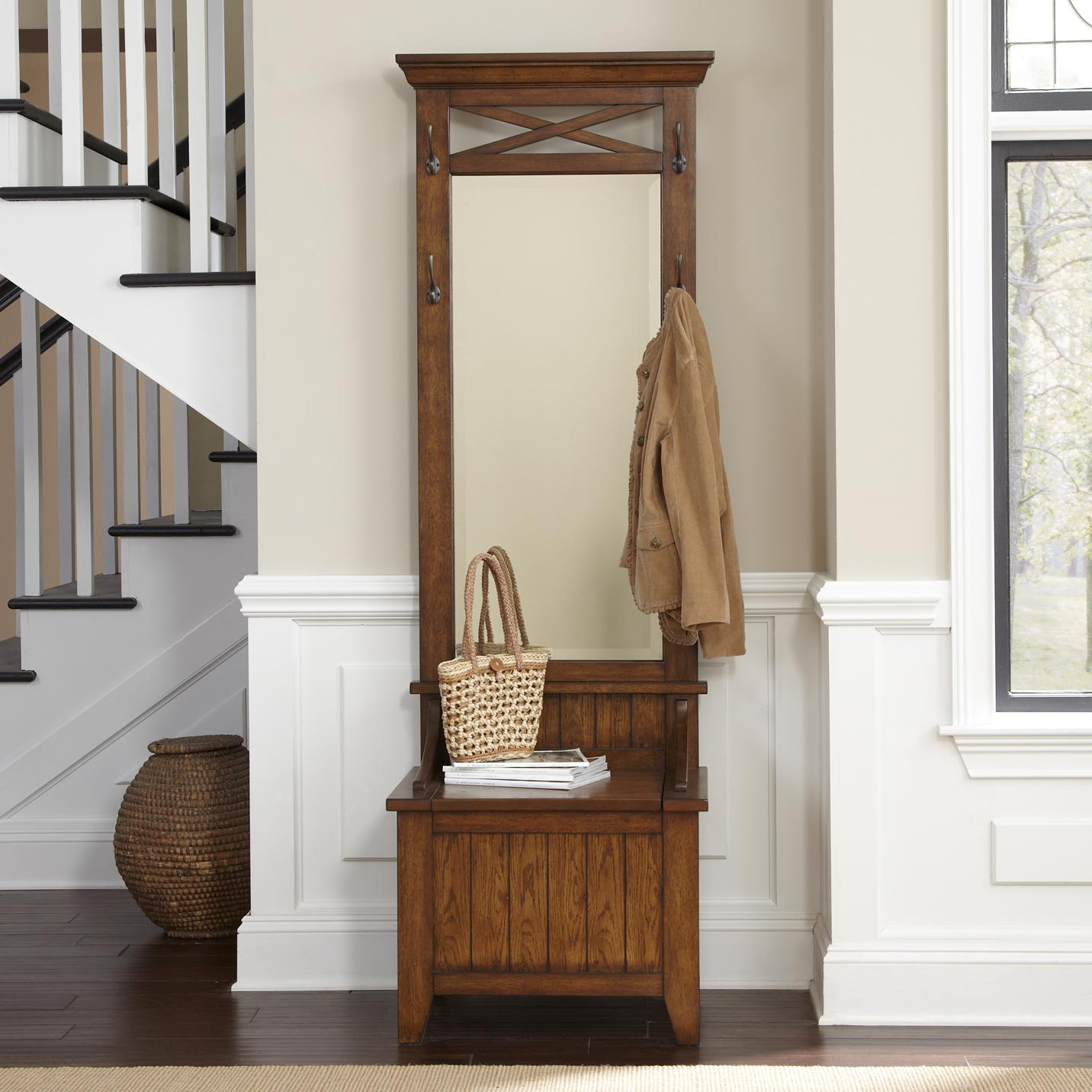 Bunker hill entryway hall tree with mirror and bench for Entryway furniture
