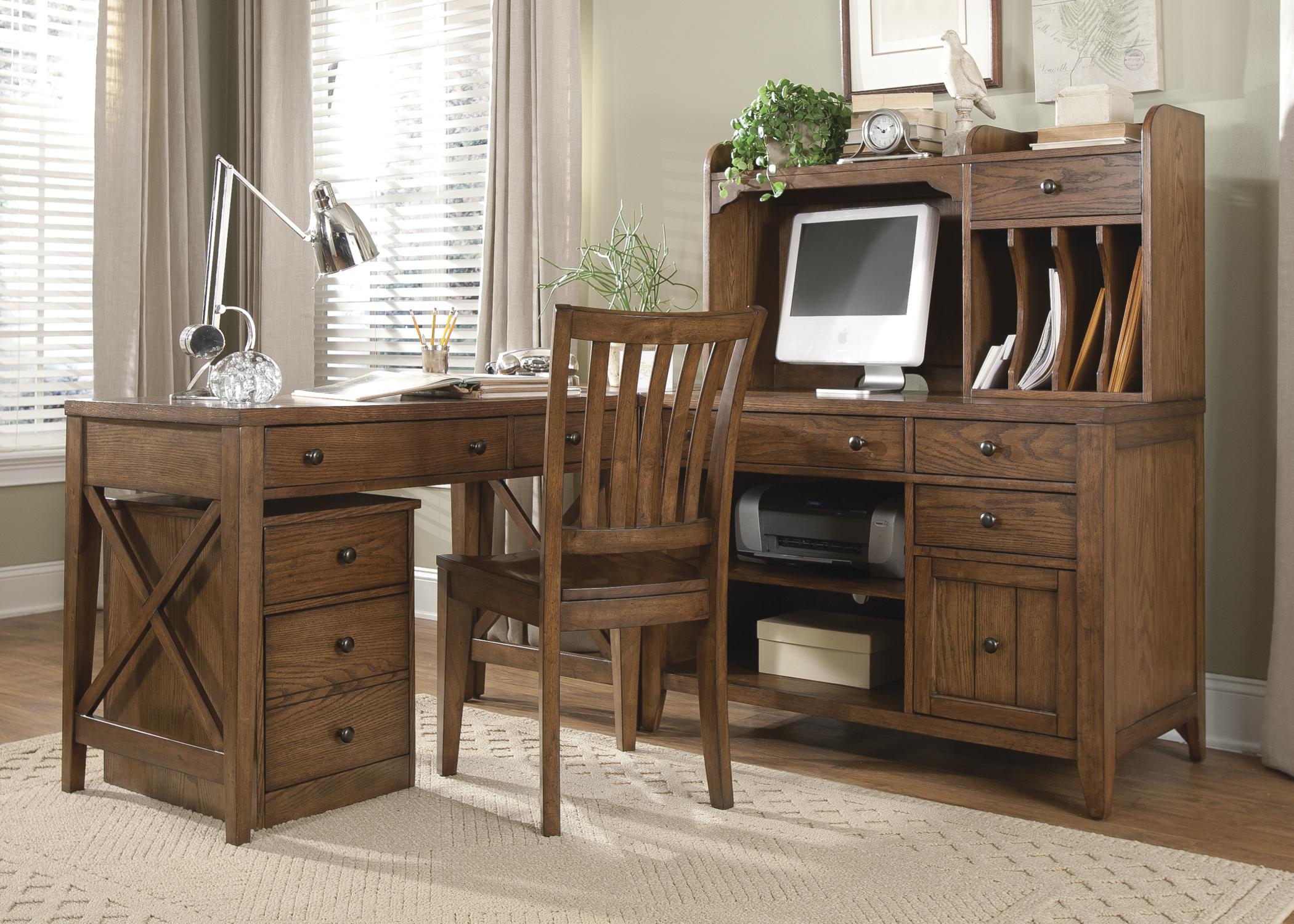Liberty Furniture Hearthstone 5 Piece L Shaped Desk And