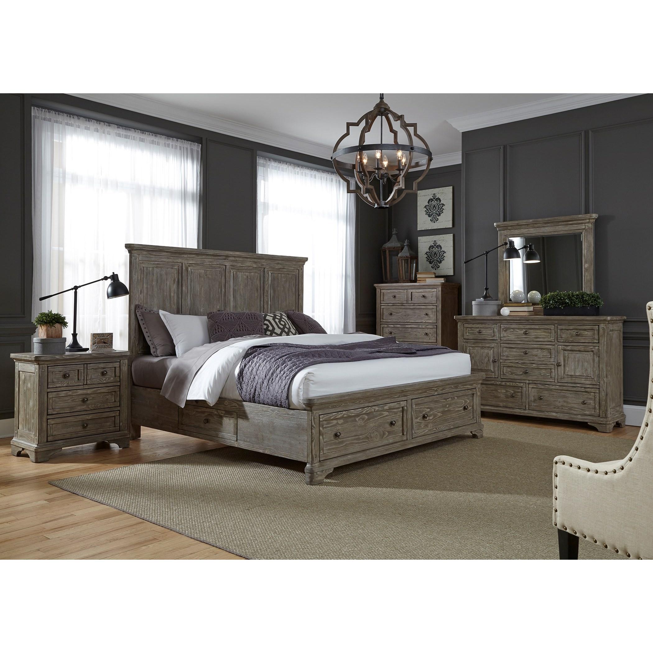 Liberty furniture highlands 727 br k2sdmcn king bedroom for Bedroom groups