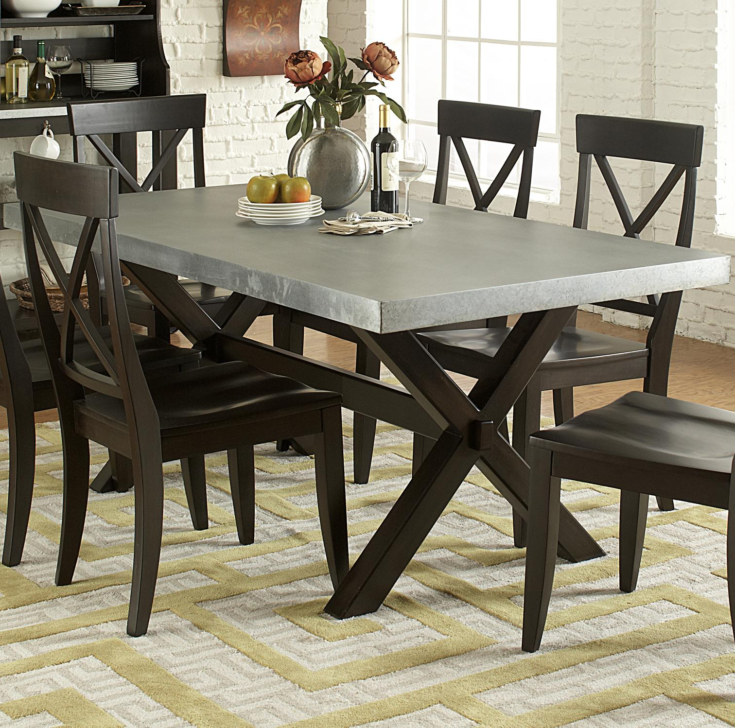 liberty furniture keaton ii 219 t3876 rectangle trestle dining table with metal top lapeer. Black Bedroom Furniture Sets. Home Design Ideas