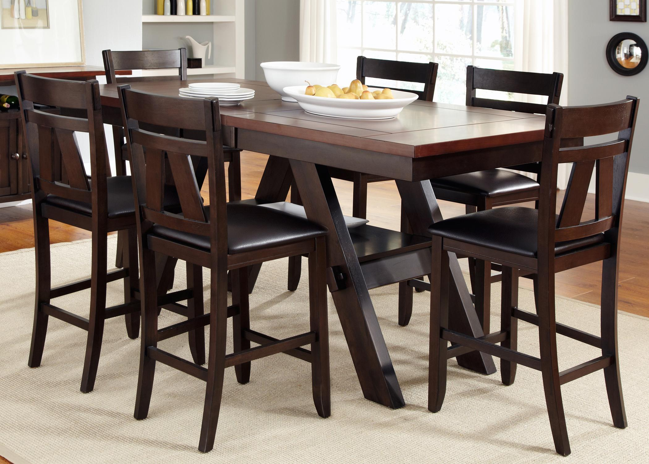 Vendor 5349 lawson 7 piece trestle gathering table with for Small counter height table