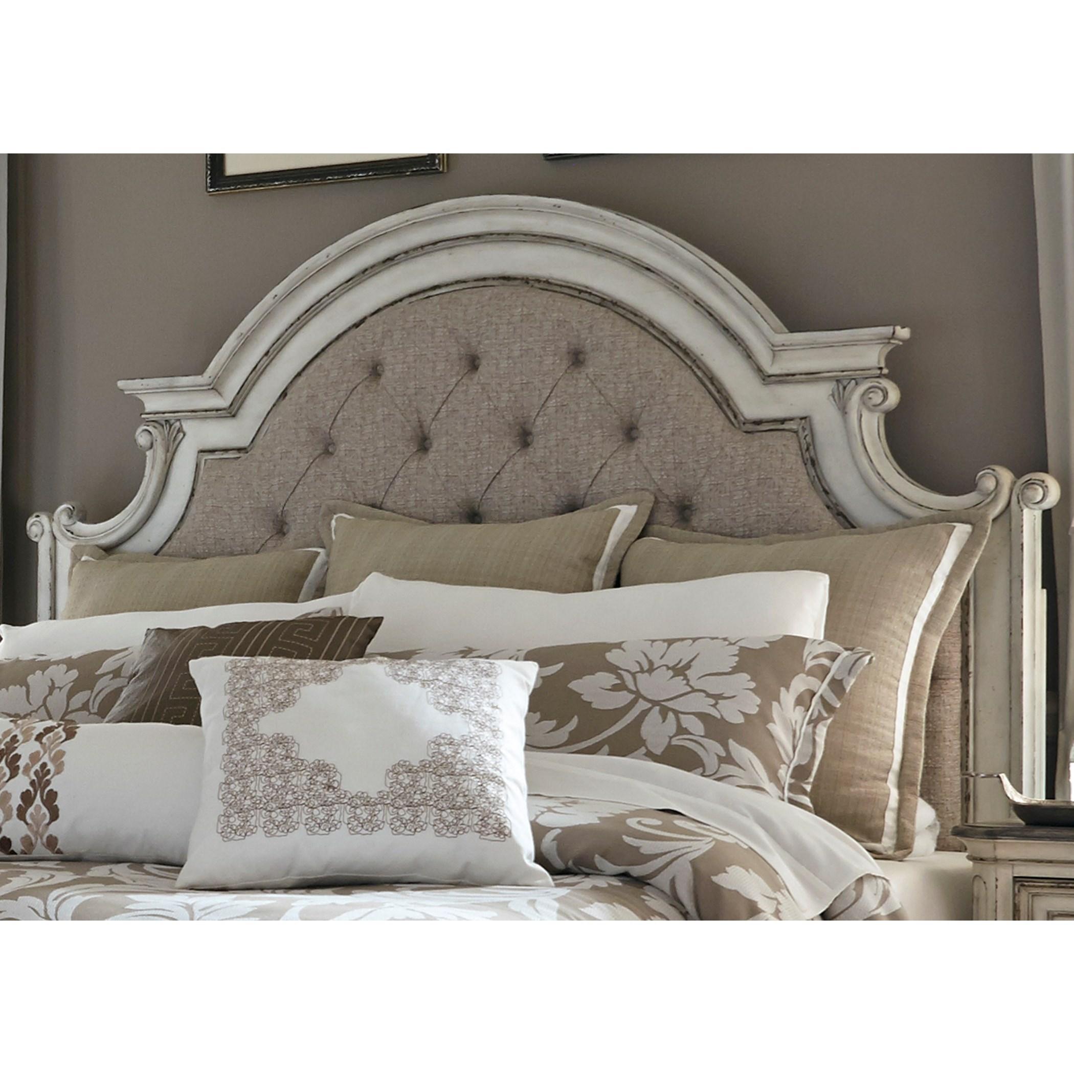 Vendor 5349 magnolia manor 244 br13hu queen upholstered panel headboard becker furniture world for Bedroom sets with upholstered headboards