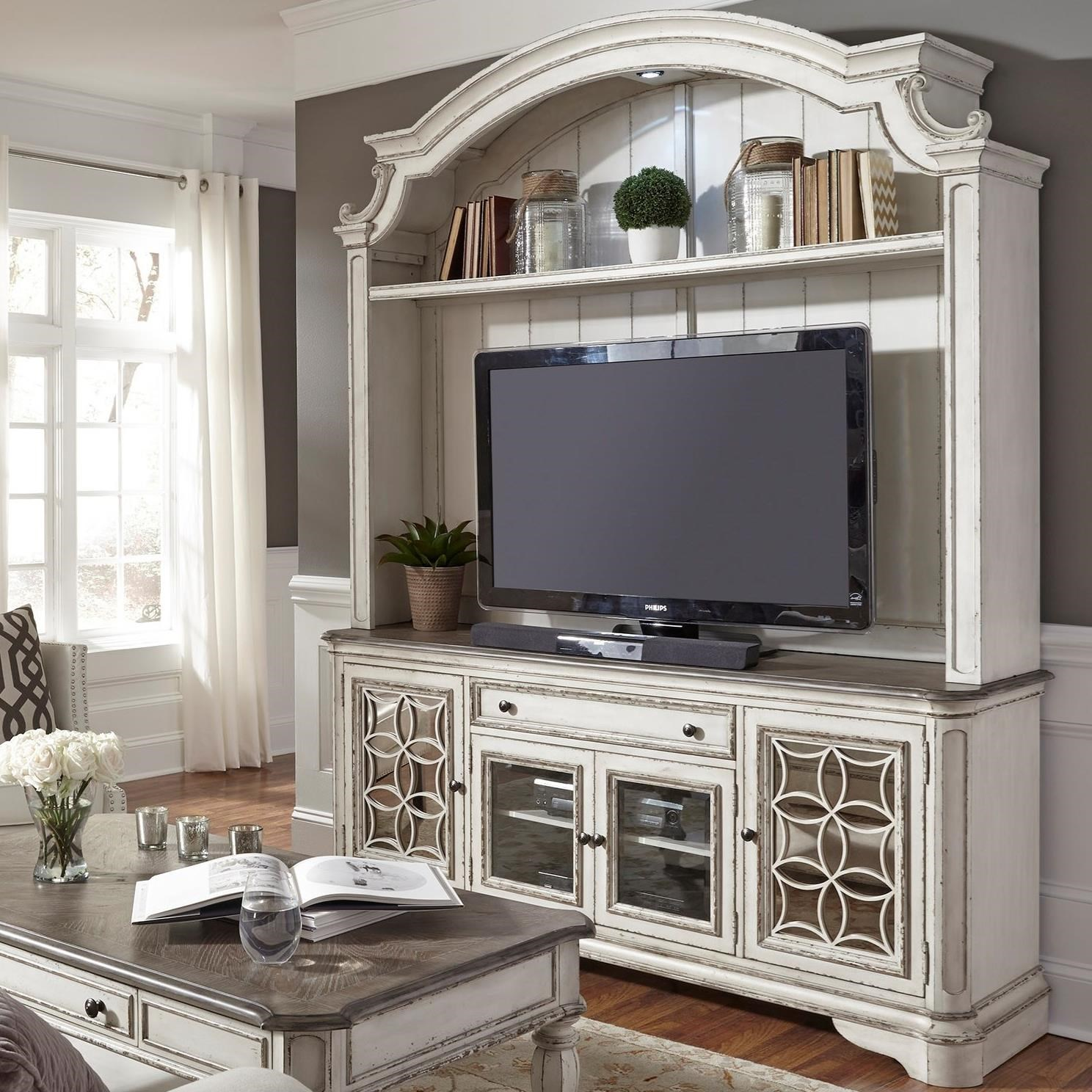 Liberty Furniture Magnolia Manor Entertainment Center With Glass Doors Johnny Janosik Wall Unit