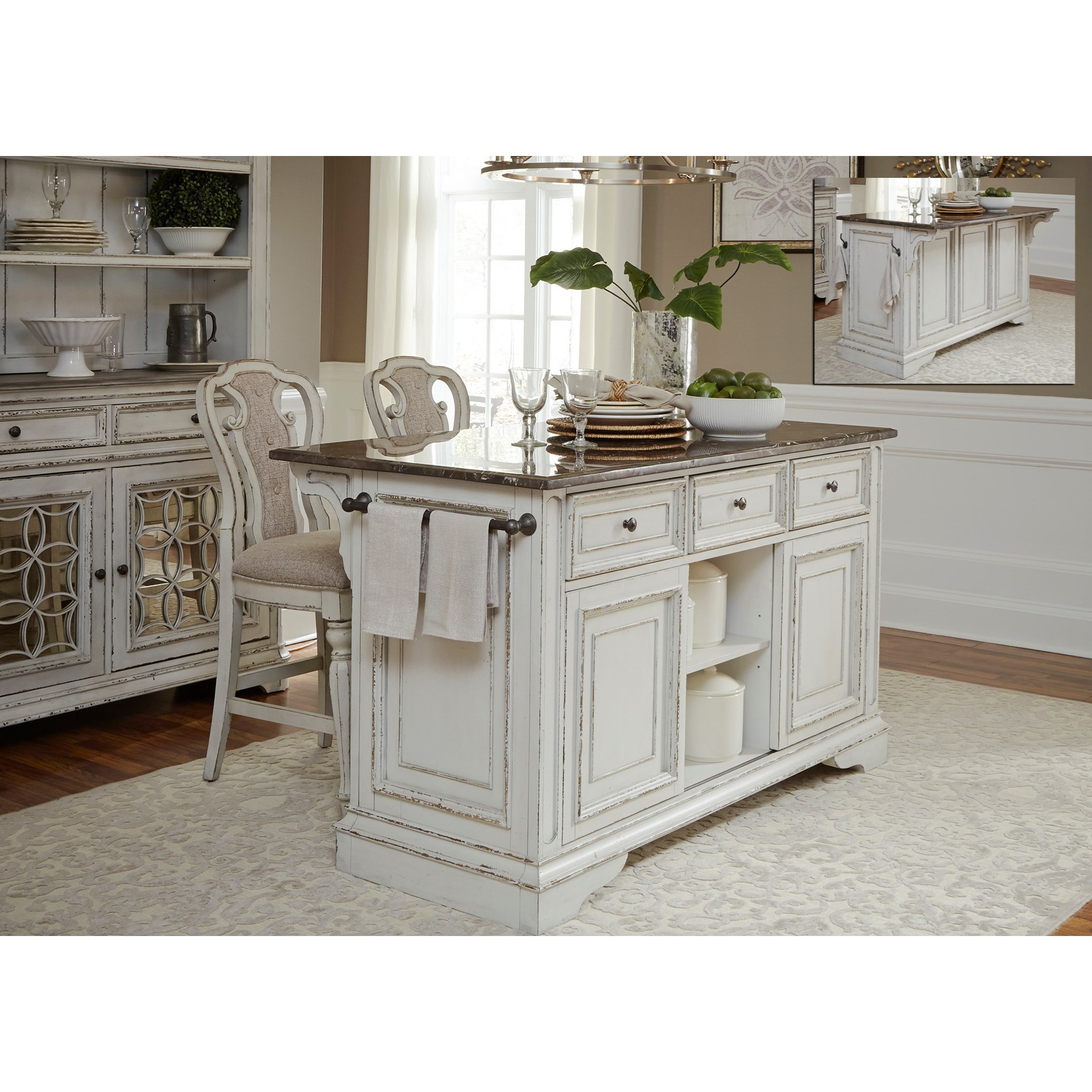 Liberty Furniture Magnolia Manor Dining Kitchen Island And Counter Height Stool Set Royal