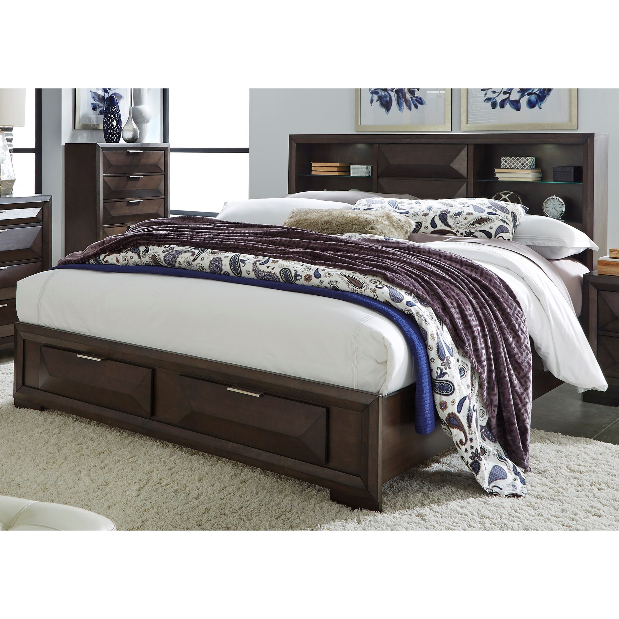 Liberty Furniture Newland Contemporary King Bookcase Bed With Footboard Storage Darvin