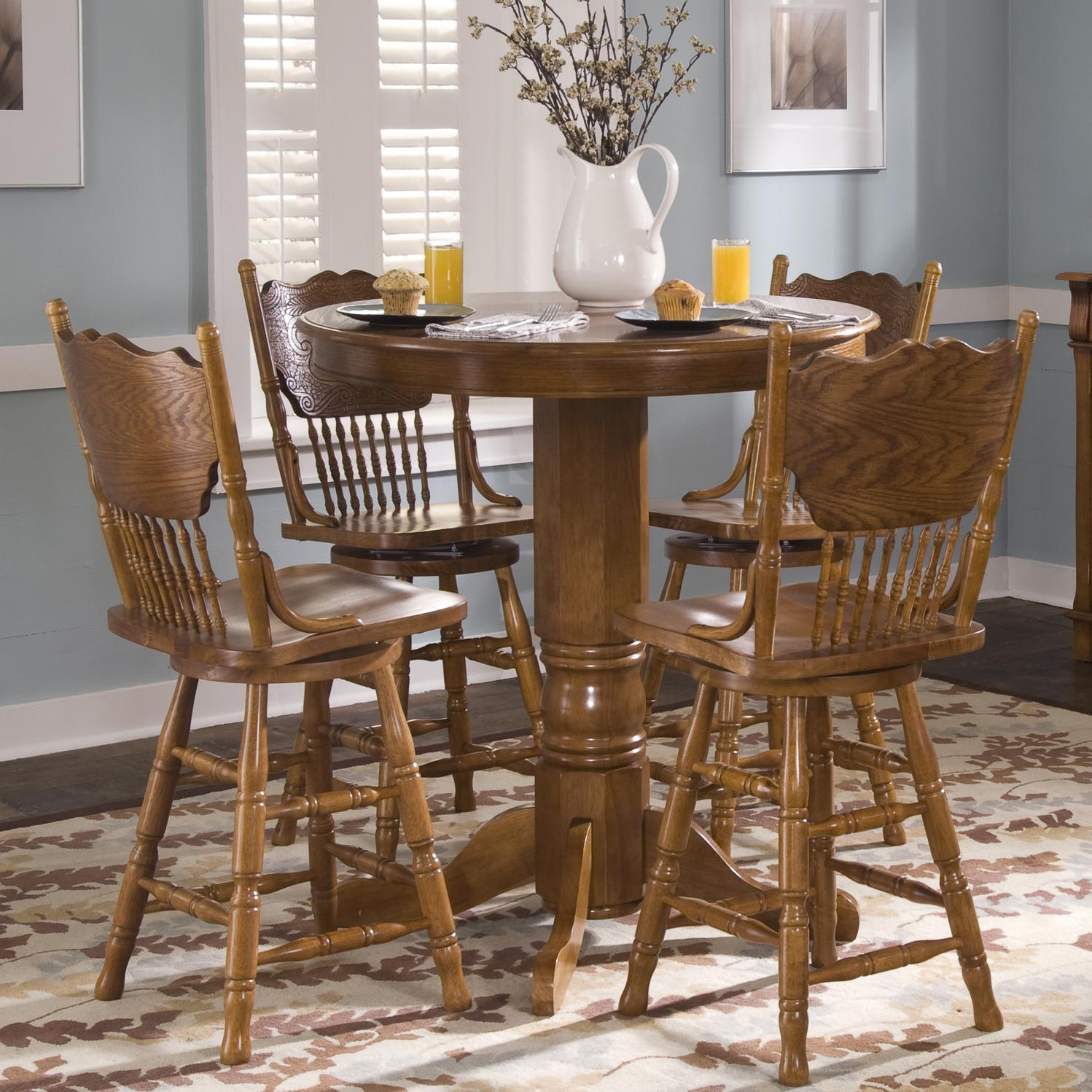 Liberty furniture nostalgia 10 cd 5pub 5 piece round pub for Round pub table and chairs