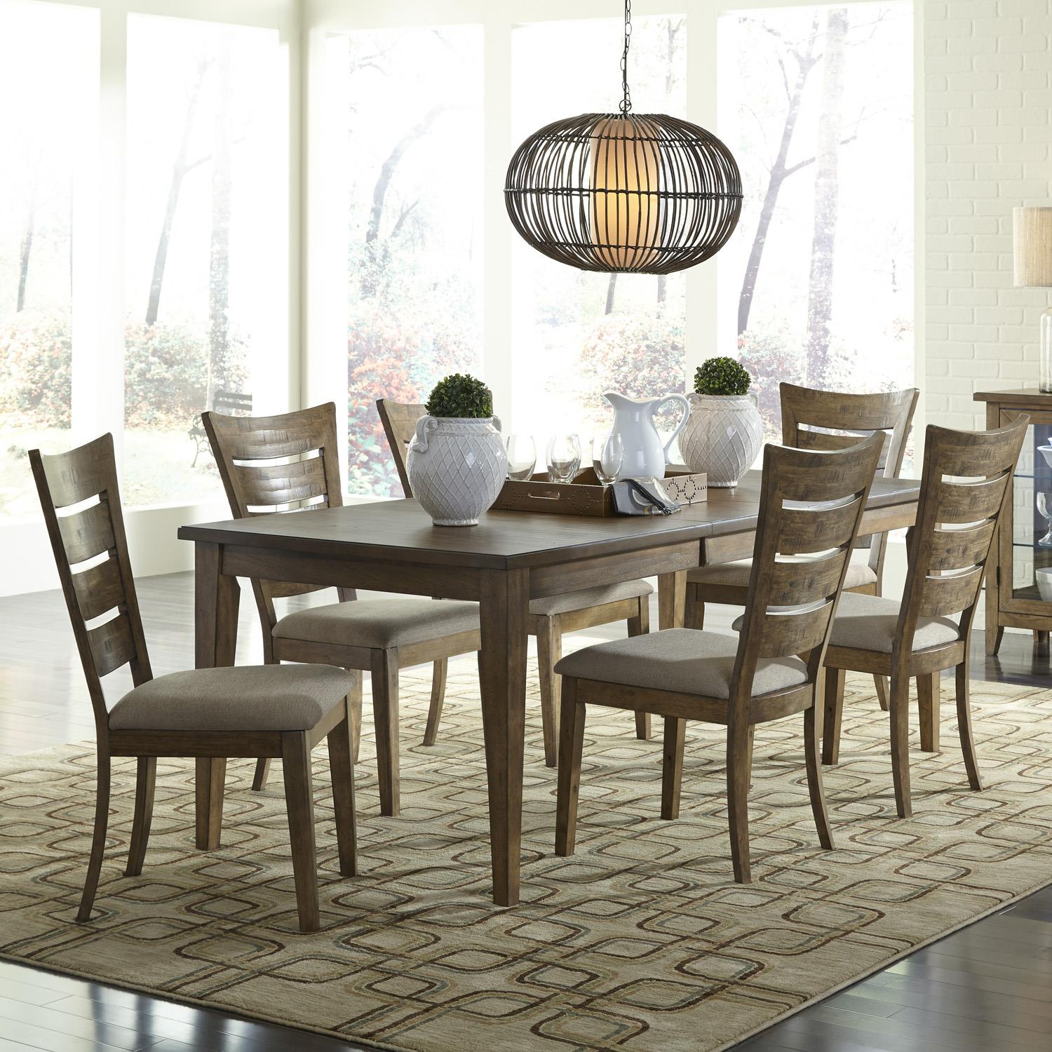 Pebble Creek 7 Piece Dining Set with Ladder Back Chairs by