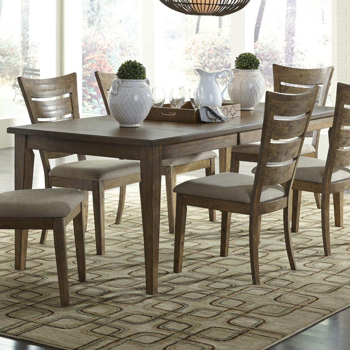 Pebble creek casual rectangular leg table with 18 inch for Rectangular dining room tables with leaves