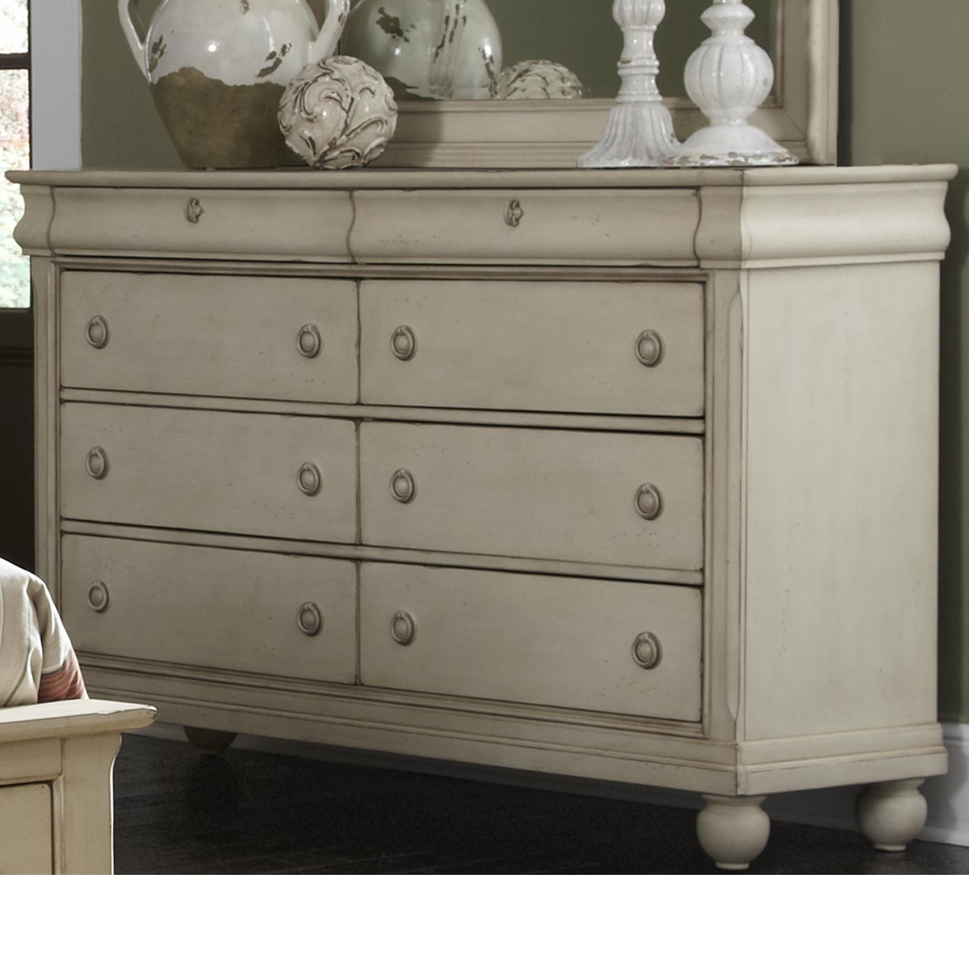 Liberty furniture rustic traditions eight drawer dresser for Bedroom bureau knobs