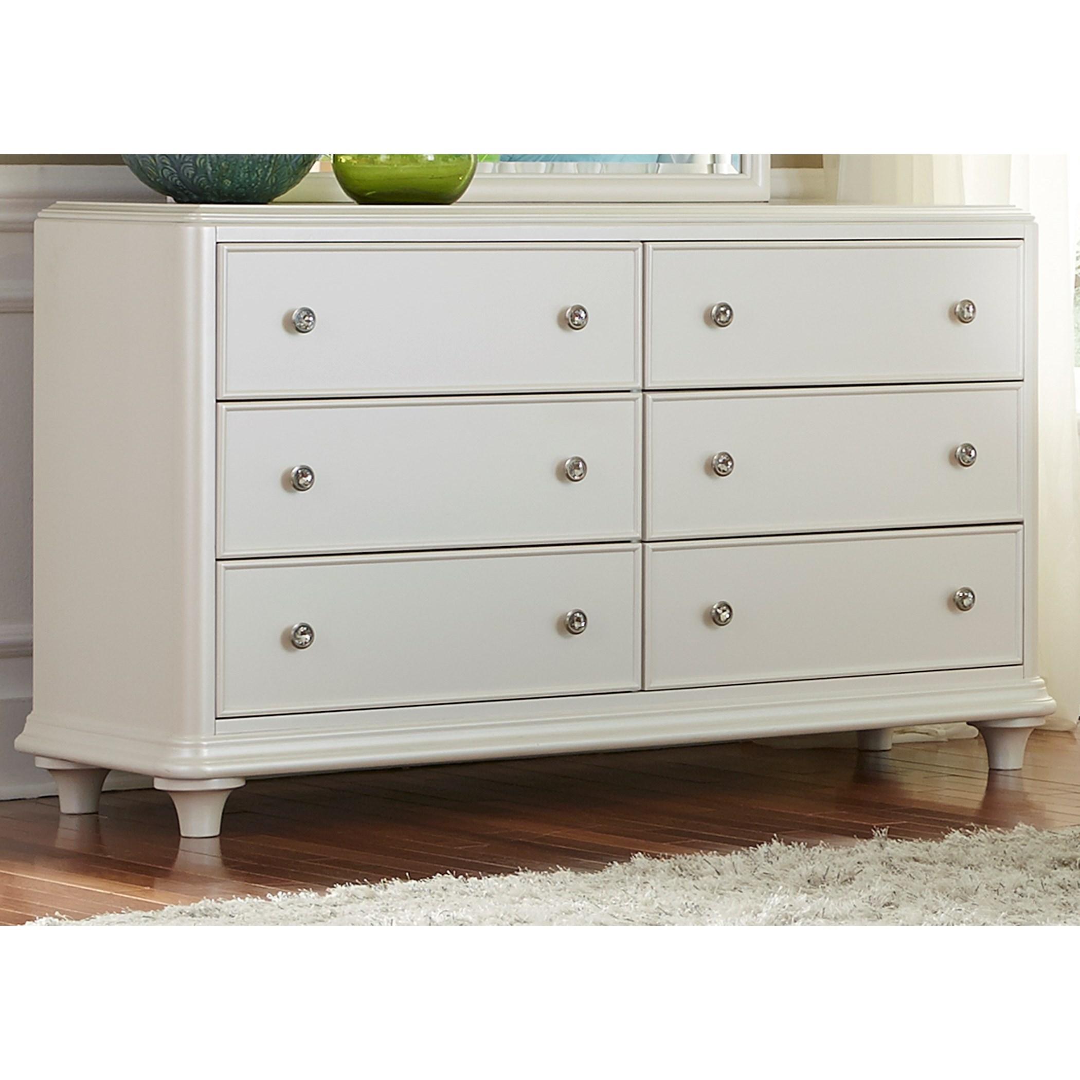 Vendor 5349 Stardust 710 Br30 Contemporary Glam 6 Drawer Dresser With Crystal Knobs Becker
