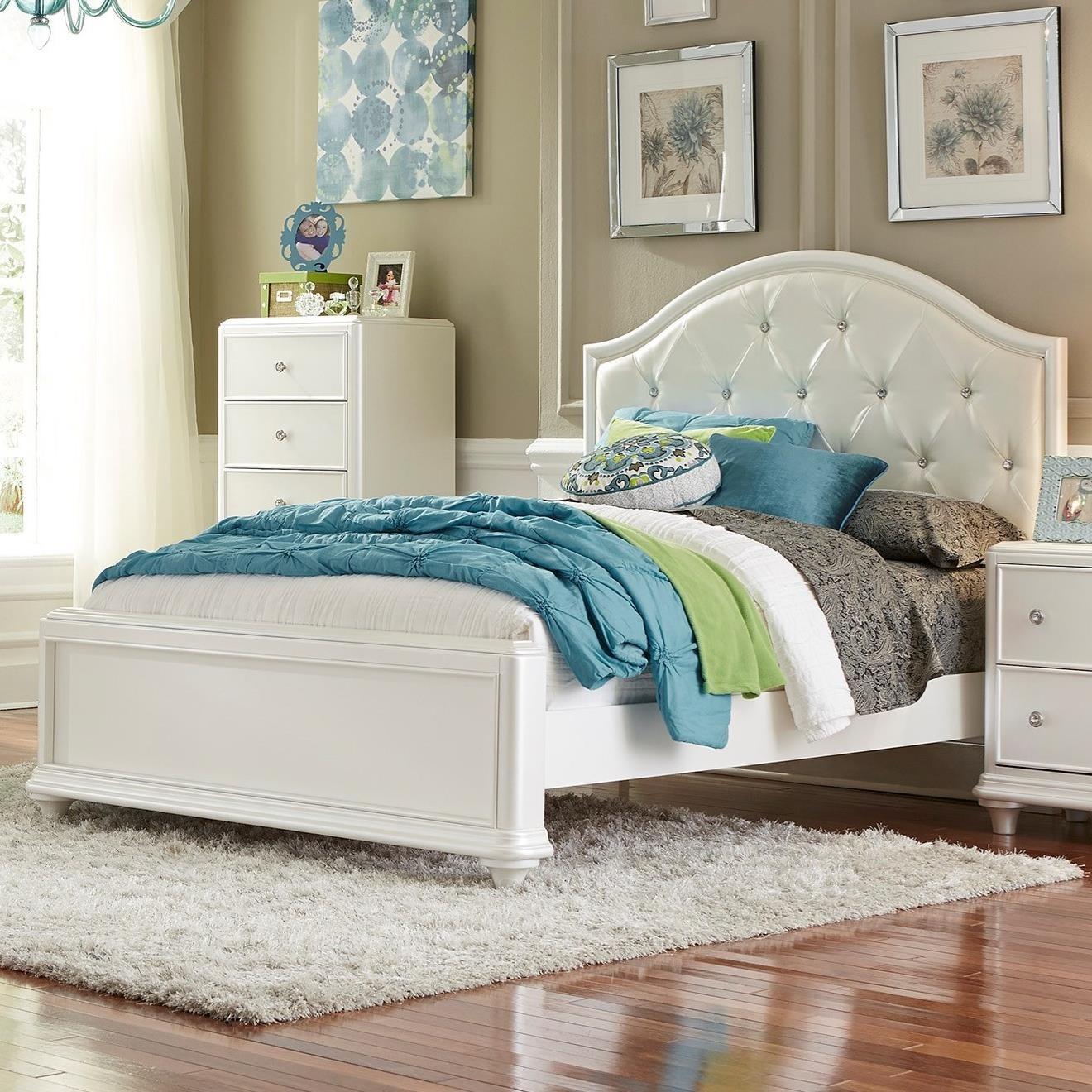 stardust glam full panel bed with upholstered headboard. Black Bedroom Furniture Sets. Home Design Ideas