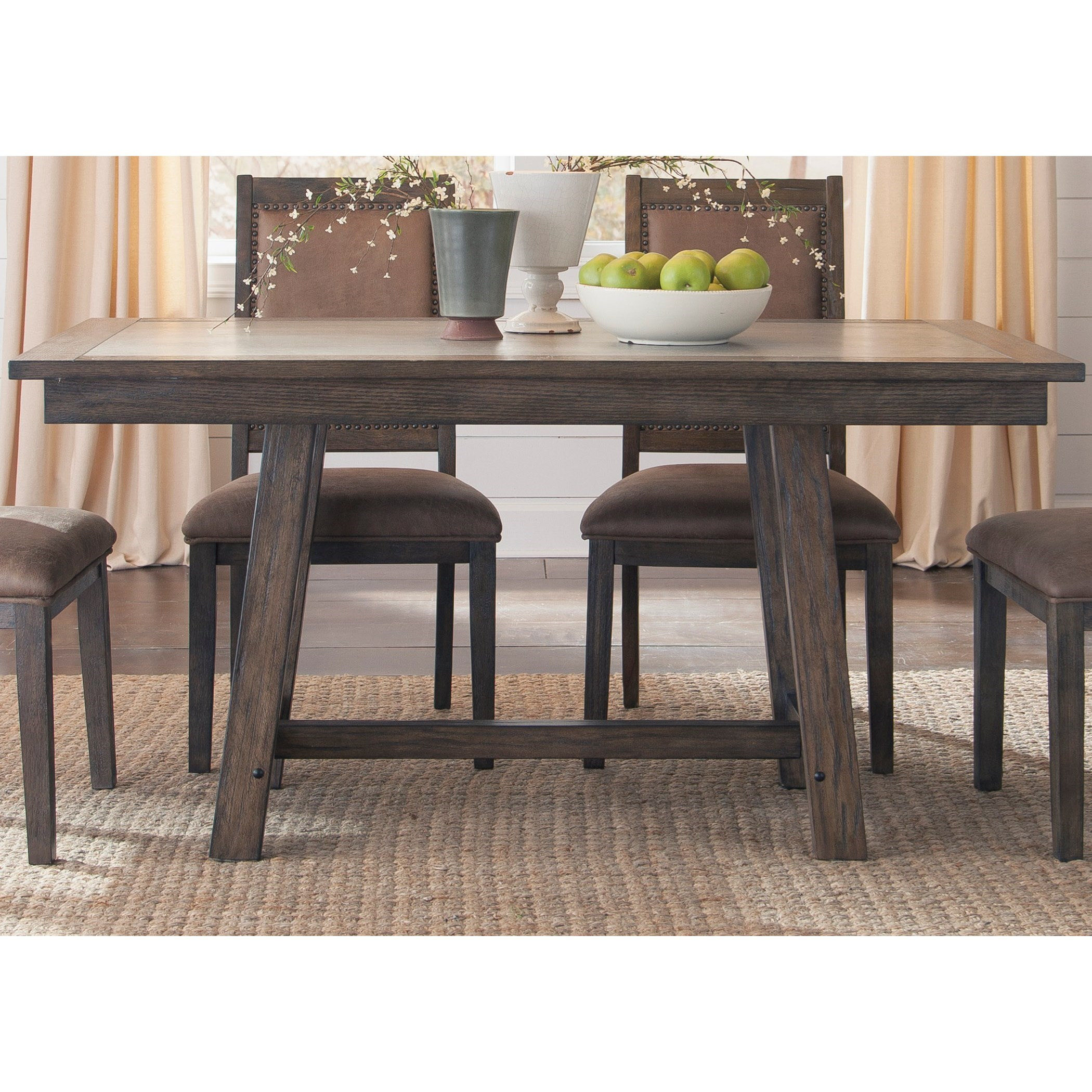 Liberty Furniture Stone Brook Trestle Table with Concrete Insert Hudson& 39