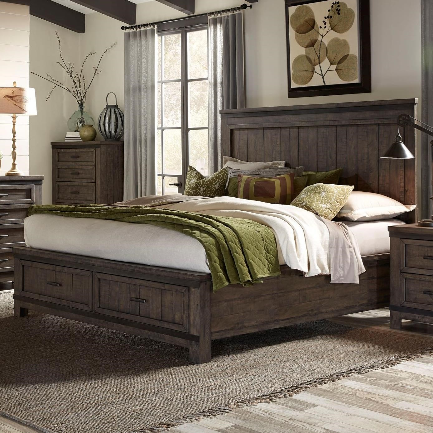 Liberty furniture thornwood hills queen storage bed with two dovetail drawers wayside for Queen bedroom furniture sets with storage