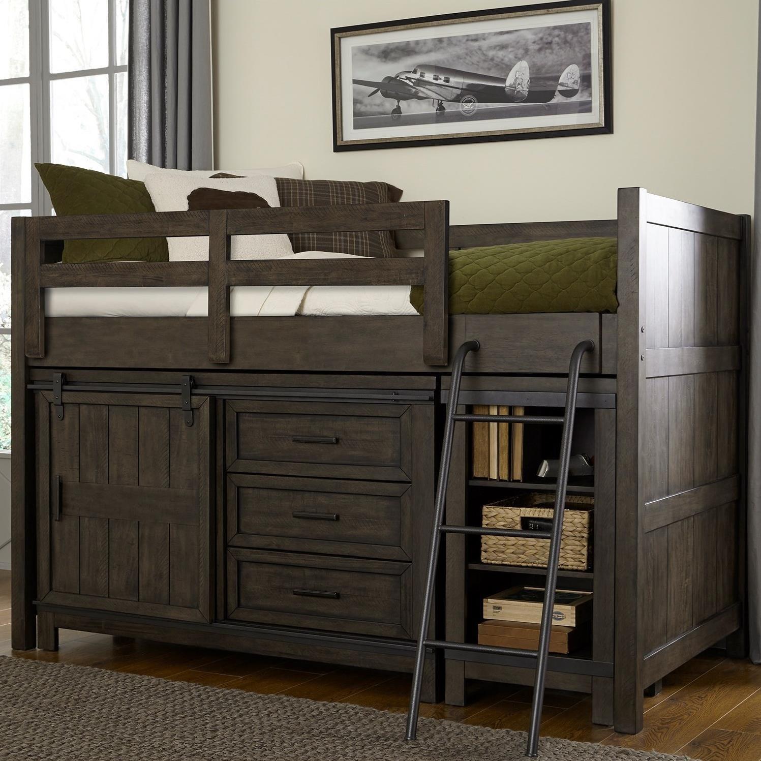thornwood hills rustic twin loft bed with dresser and low loft bookcase rotmans loft beds. Black Bedroom Furniture Sets. Home Design Ideas