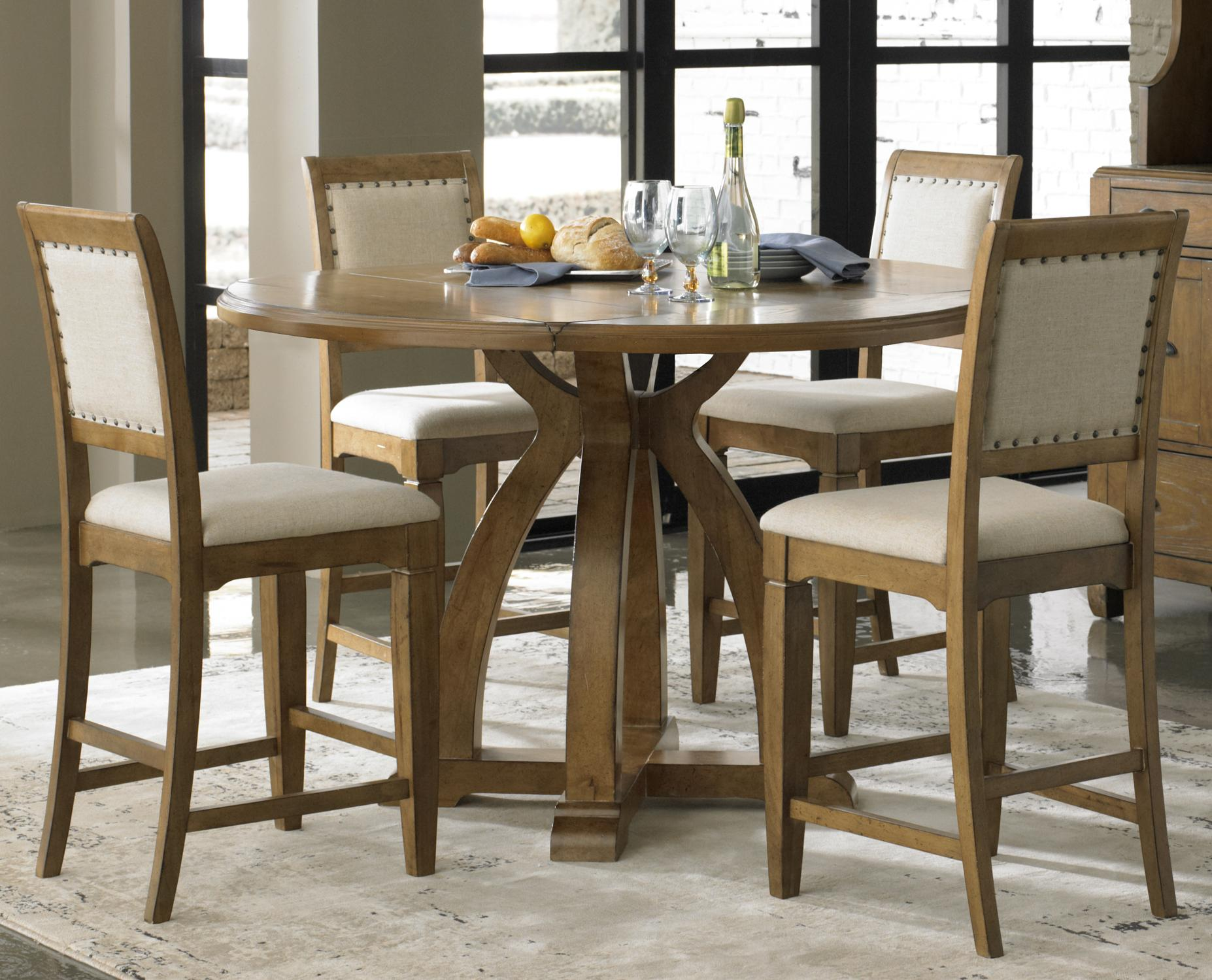 Counter Height Gathering Table Sets : Country 5-Piece Gathering Table Set with 4 Upholstered Counter Height ...