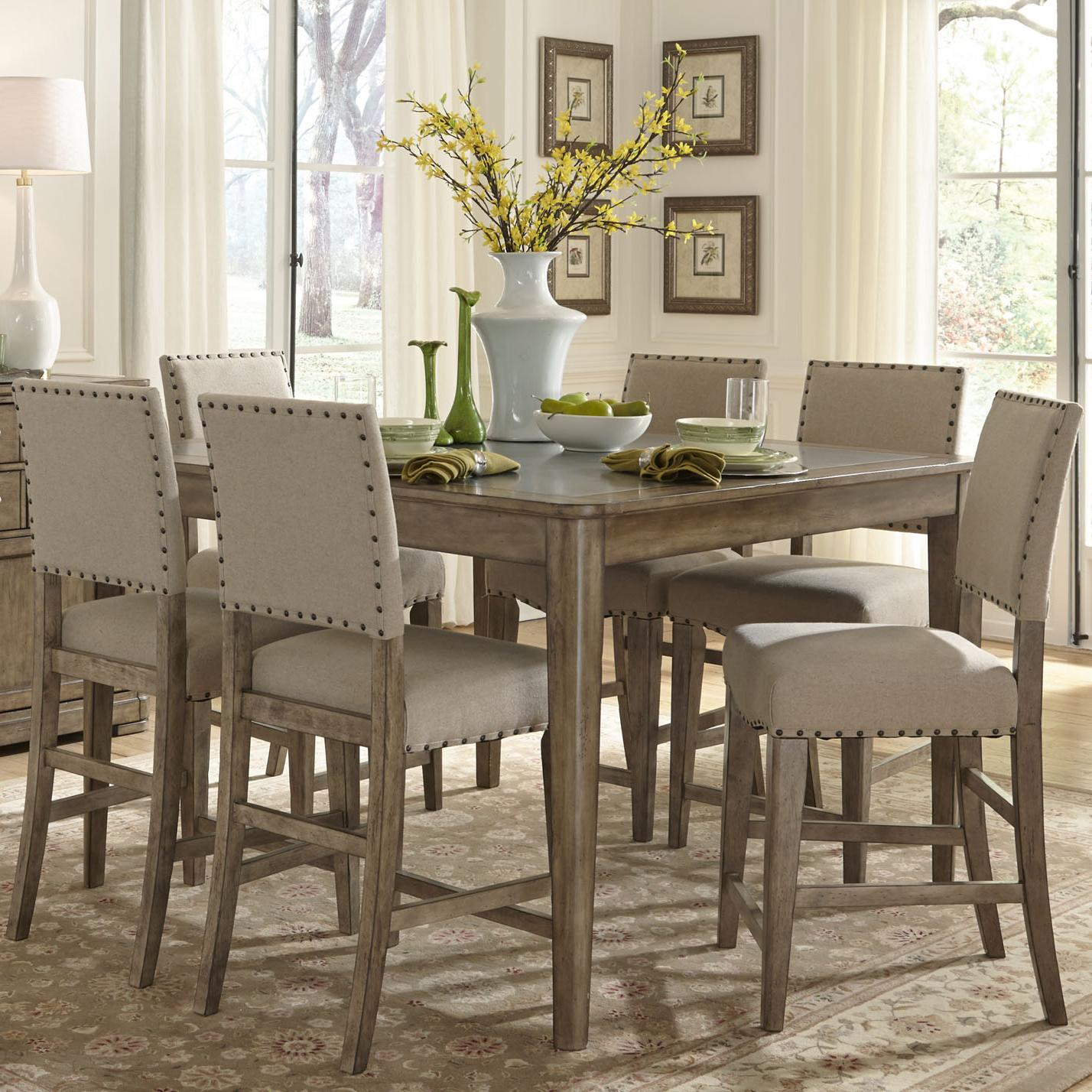 liberty furniture weatherford rustic casual 7 piece gathering height table and chair set. Black Bedroom Furniture Sets. Home Design Ideas