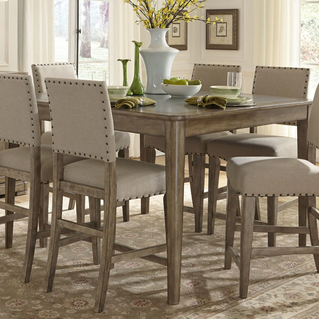 Liberty furniture weatherford rustic casual gathering for Casual dining table and chairs
