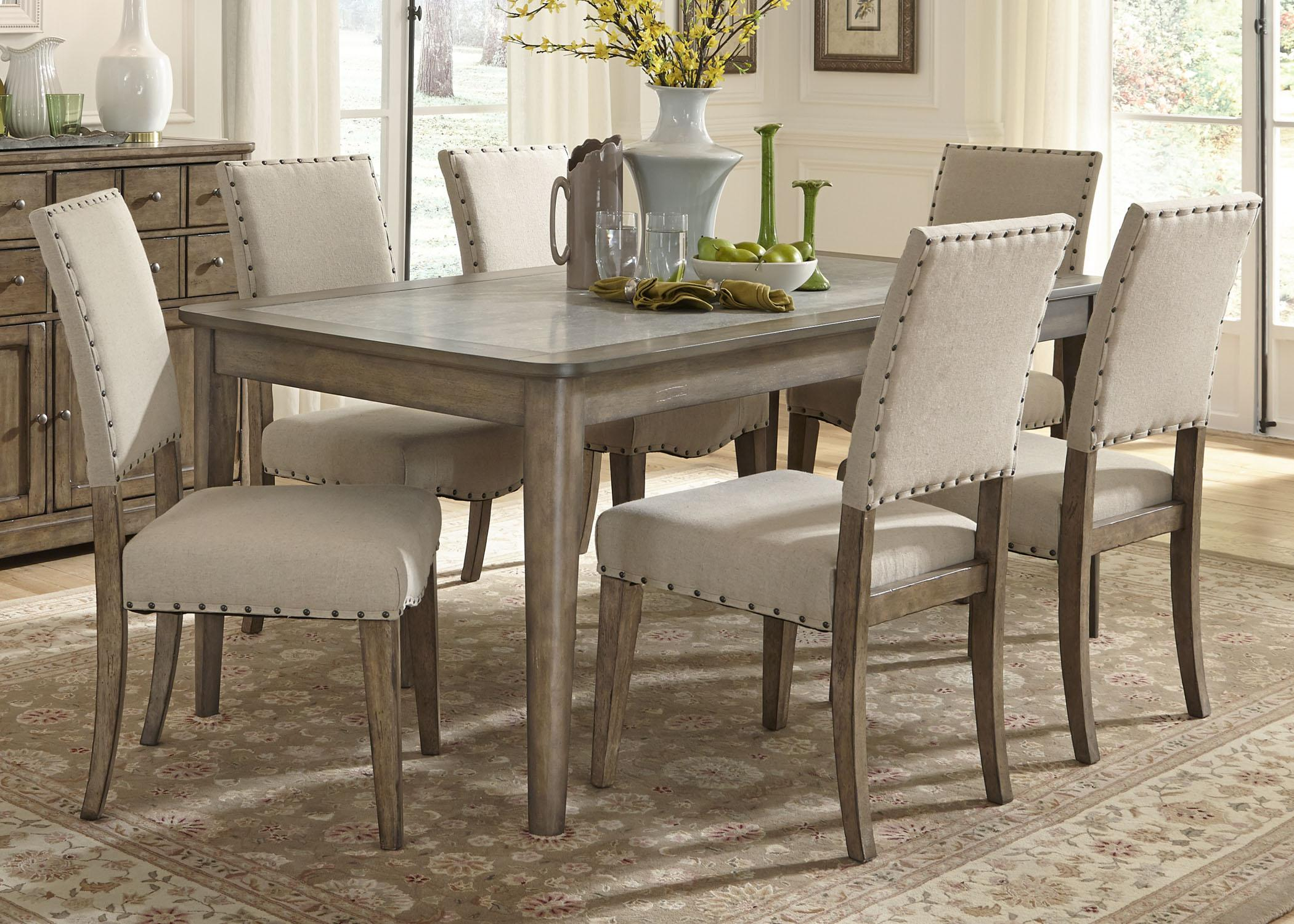 Liberty furniture weatherford casual rustic 7 piece dining for Casual dining table and chairs