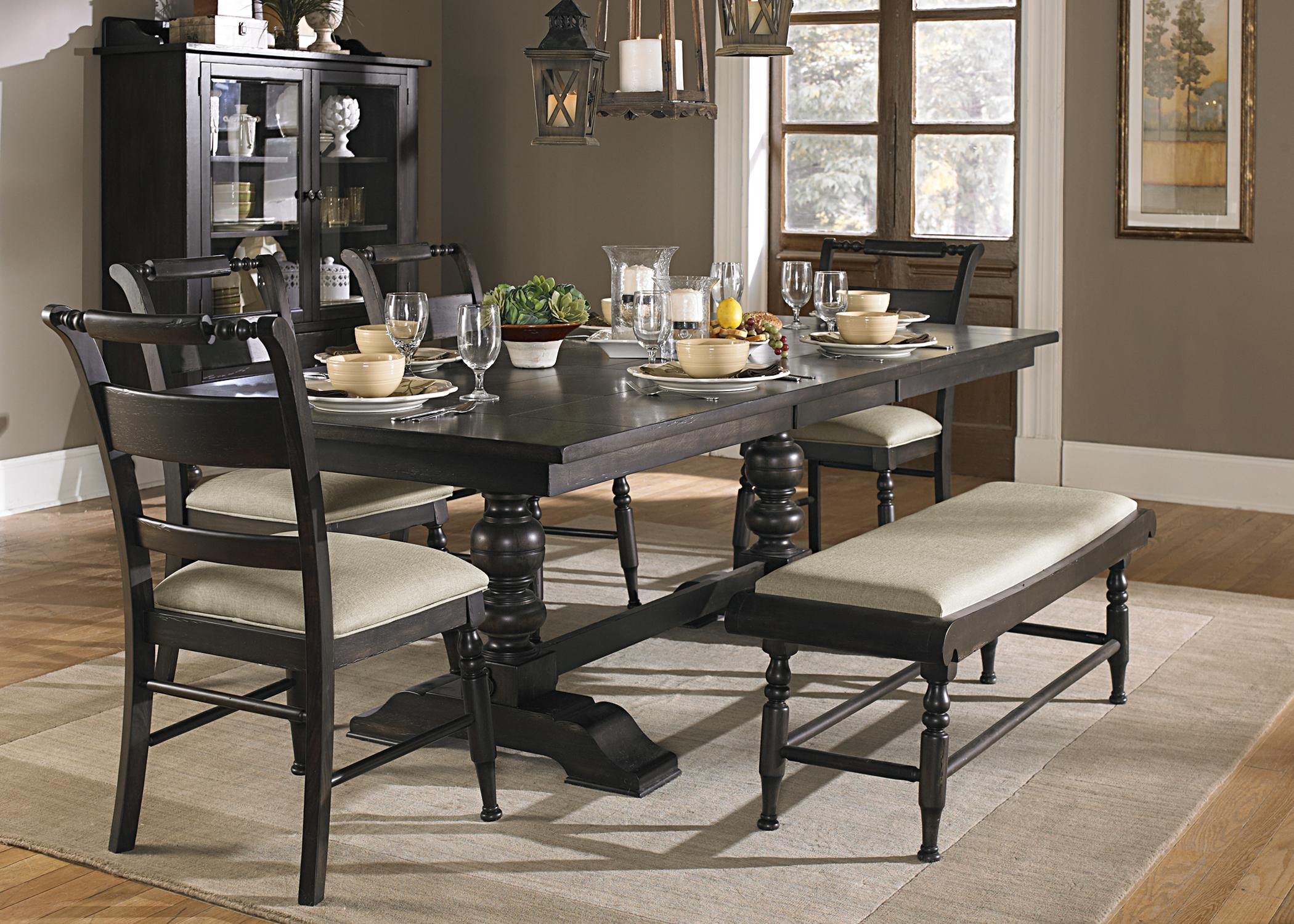 Liberty furniture whitney 6 piece trestle table set with Living room bedroom dinettes oh yeah