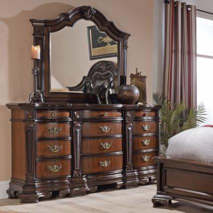 Lifestyle Jade Ornate Traditional Twelve Drawer Dresser And Mirror Set Royal Furniture
