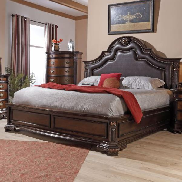 Lifestyle Jade King Faux Leather Upholstered Bed With Nailhead Trim Royal Furniture