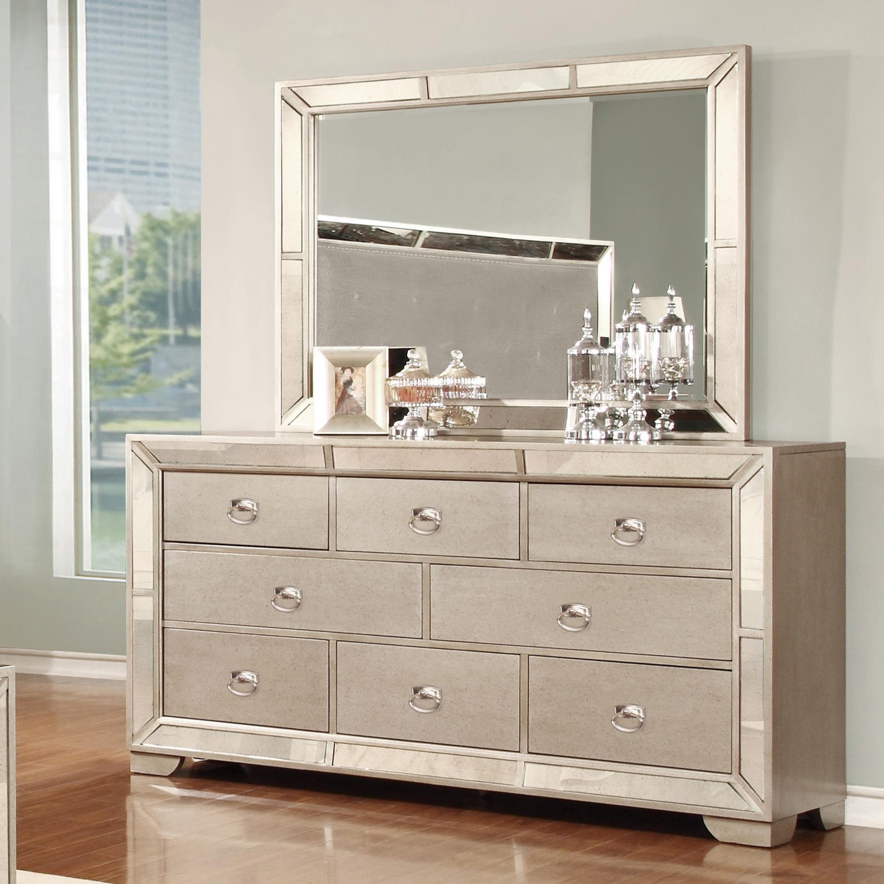 Lifestyle Glitzy 7 Drawer Dresser and Mirror Set