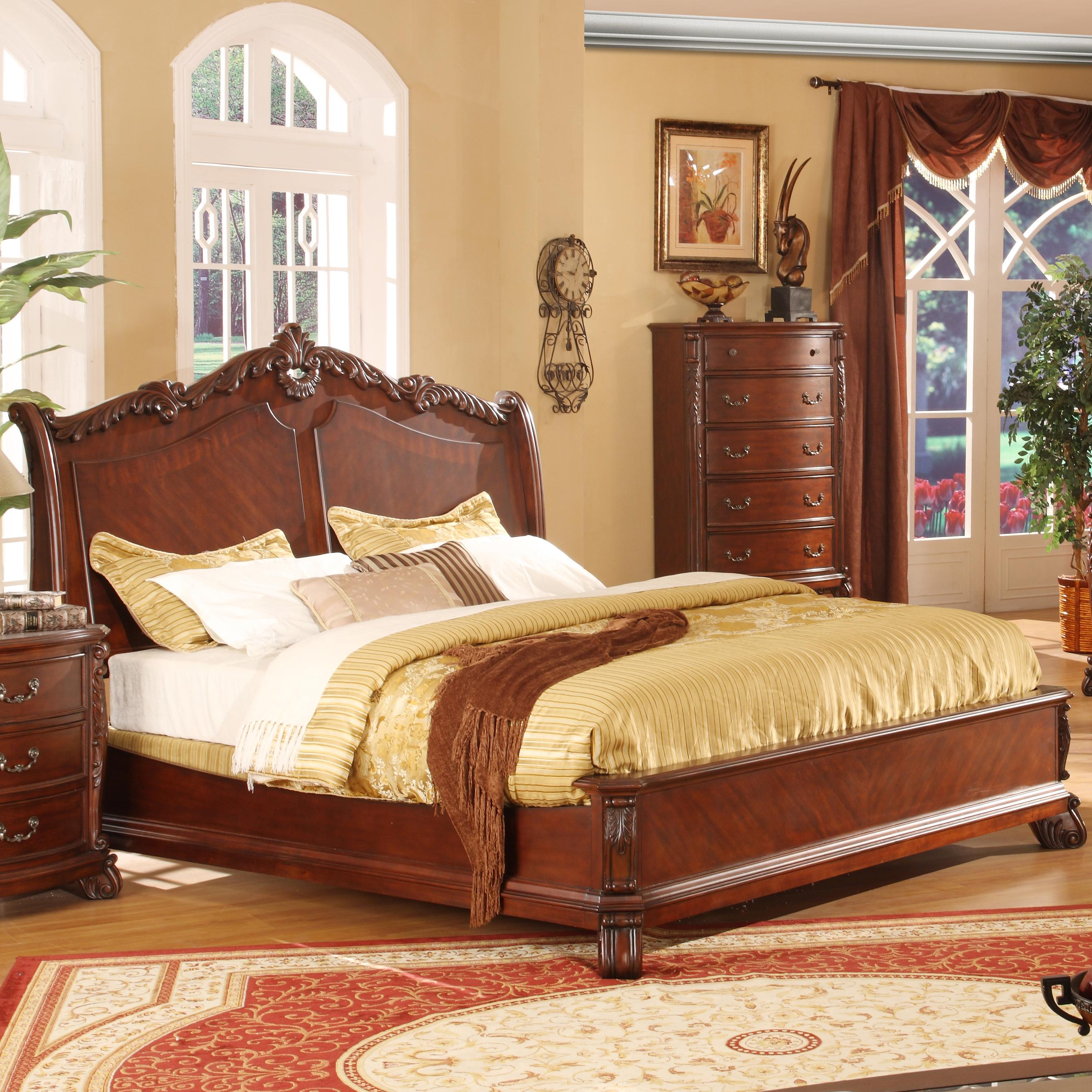 lifestyle frenchy traditional queen panel bed with acanthus leaf