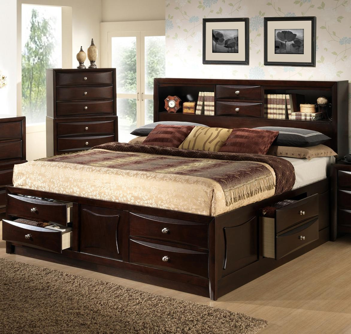 Lifestyle Todd King California King Storage Bed W Bookcase Headboard Royal Furniture