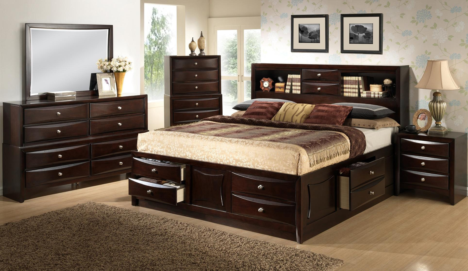 Lifestyle c0172 king california king storage bed w bookcase headboard beck 39 s furniture for Bedroom set with storage drawers