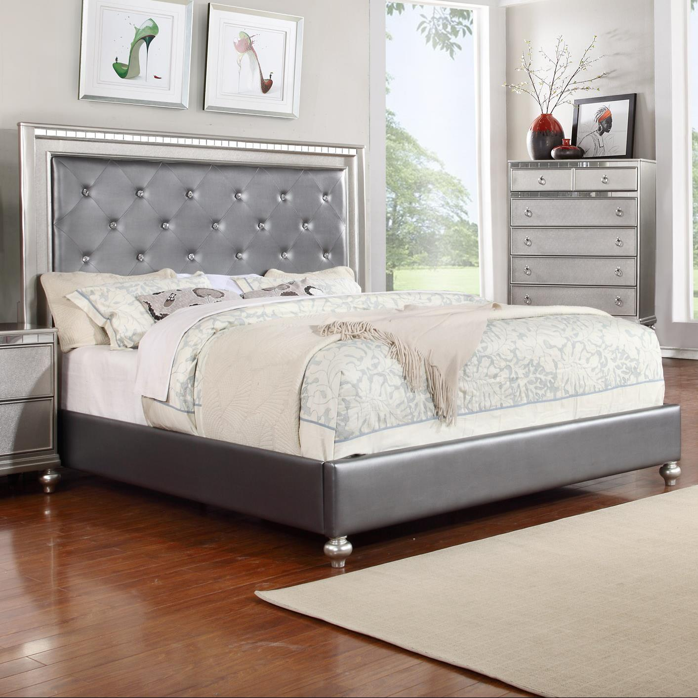 Glam Queen Upholstered Panel Bed With Rhinestone Accent Rotmans Upholstered Bed