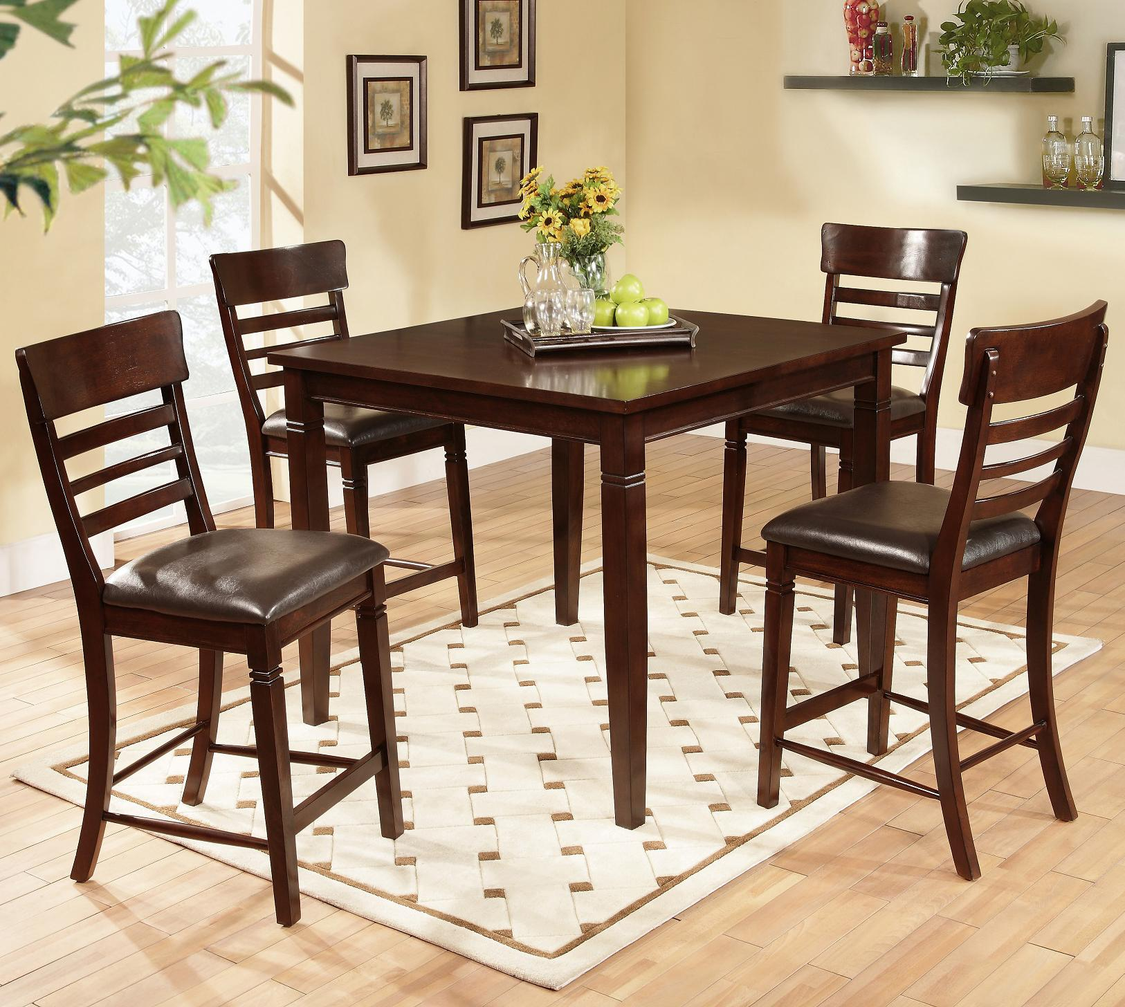Lifestyle dc192 5 piece pub table set with ladder back pub for Dining room tables jacksonville nc