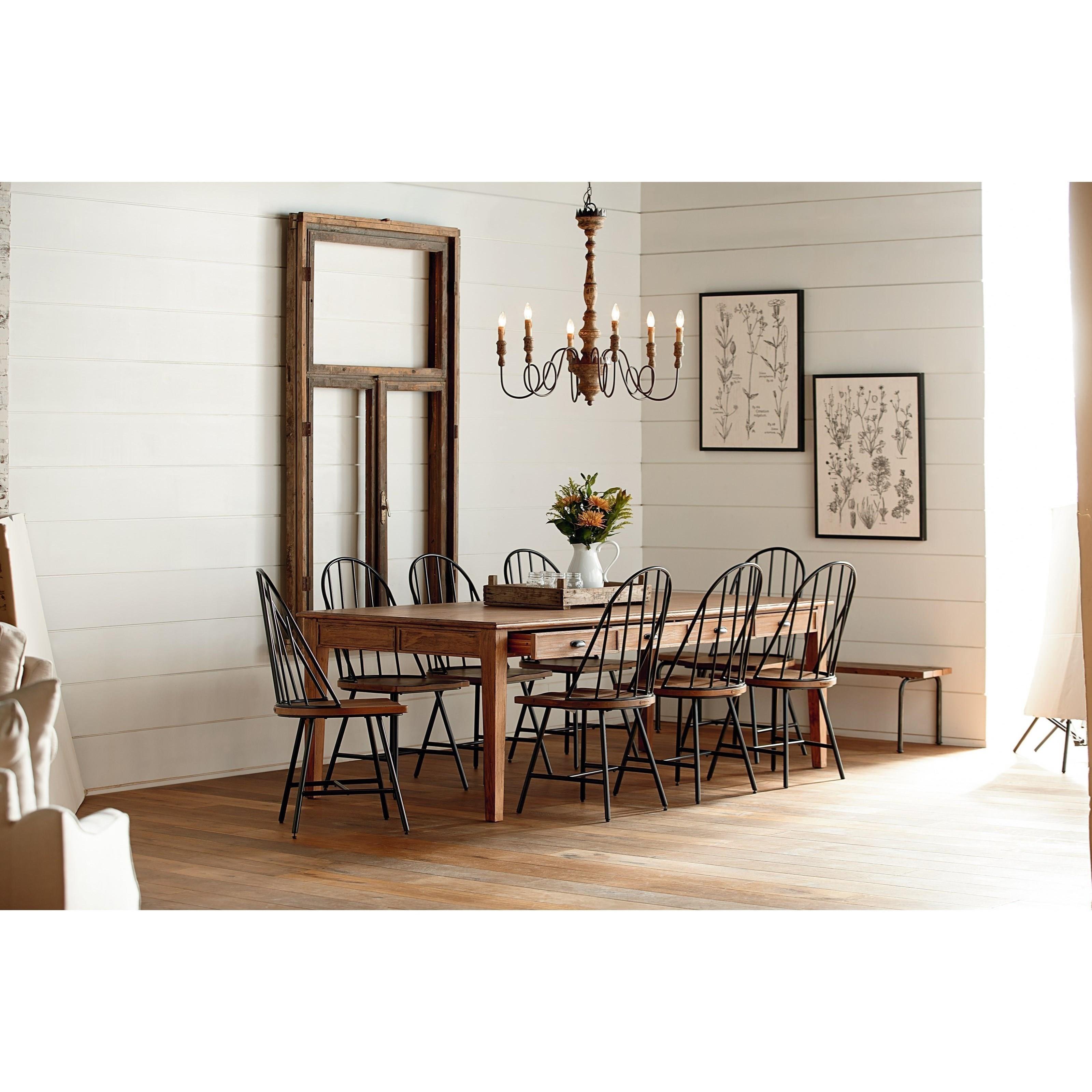 Magnolia home by joanna gaines farmhouse dining table with for Magnolia farmhouse