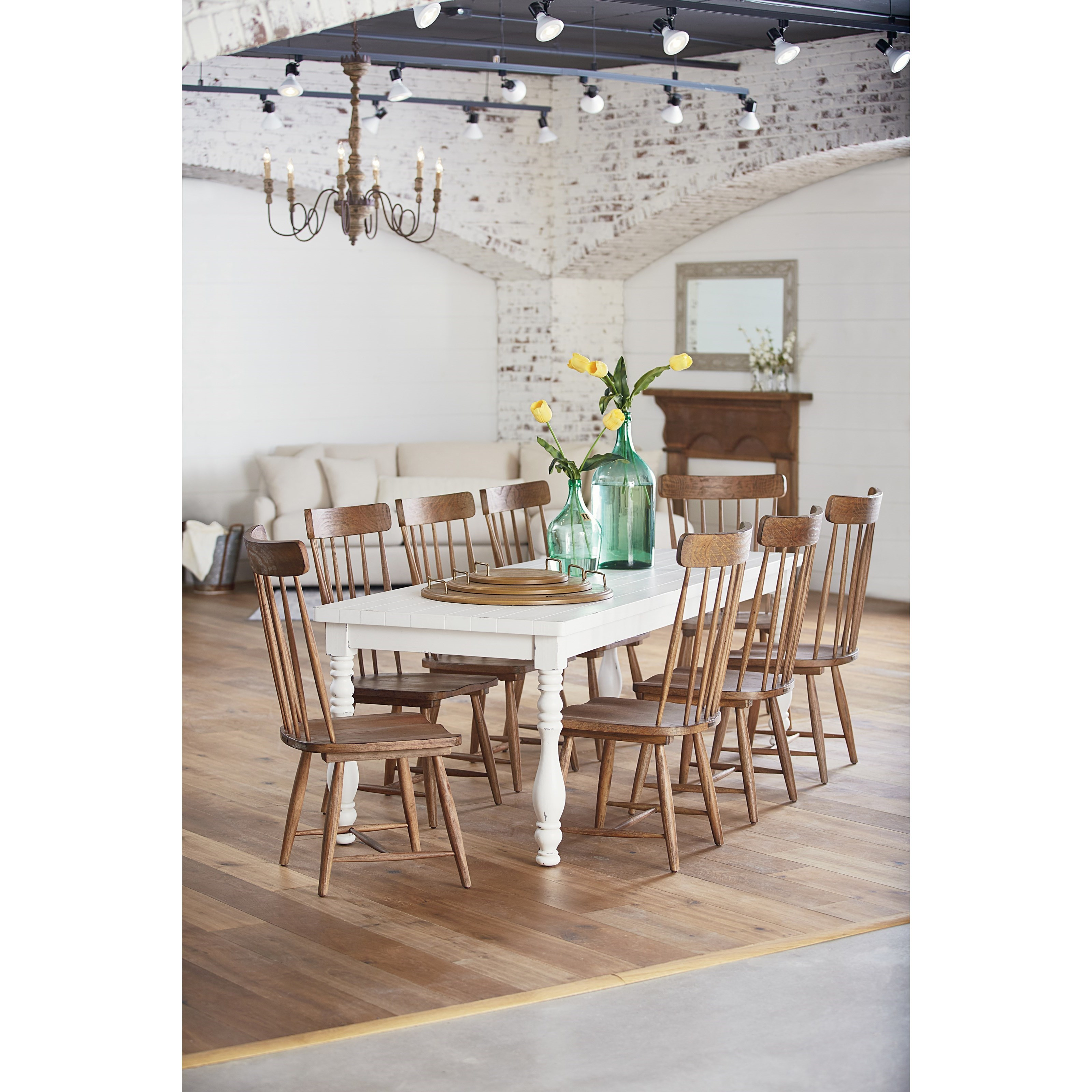 Magnolia Home by Joanna Gaines Farmhouse 9 Piece Dining Set with Spindle Chai