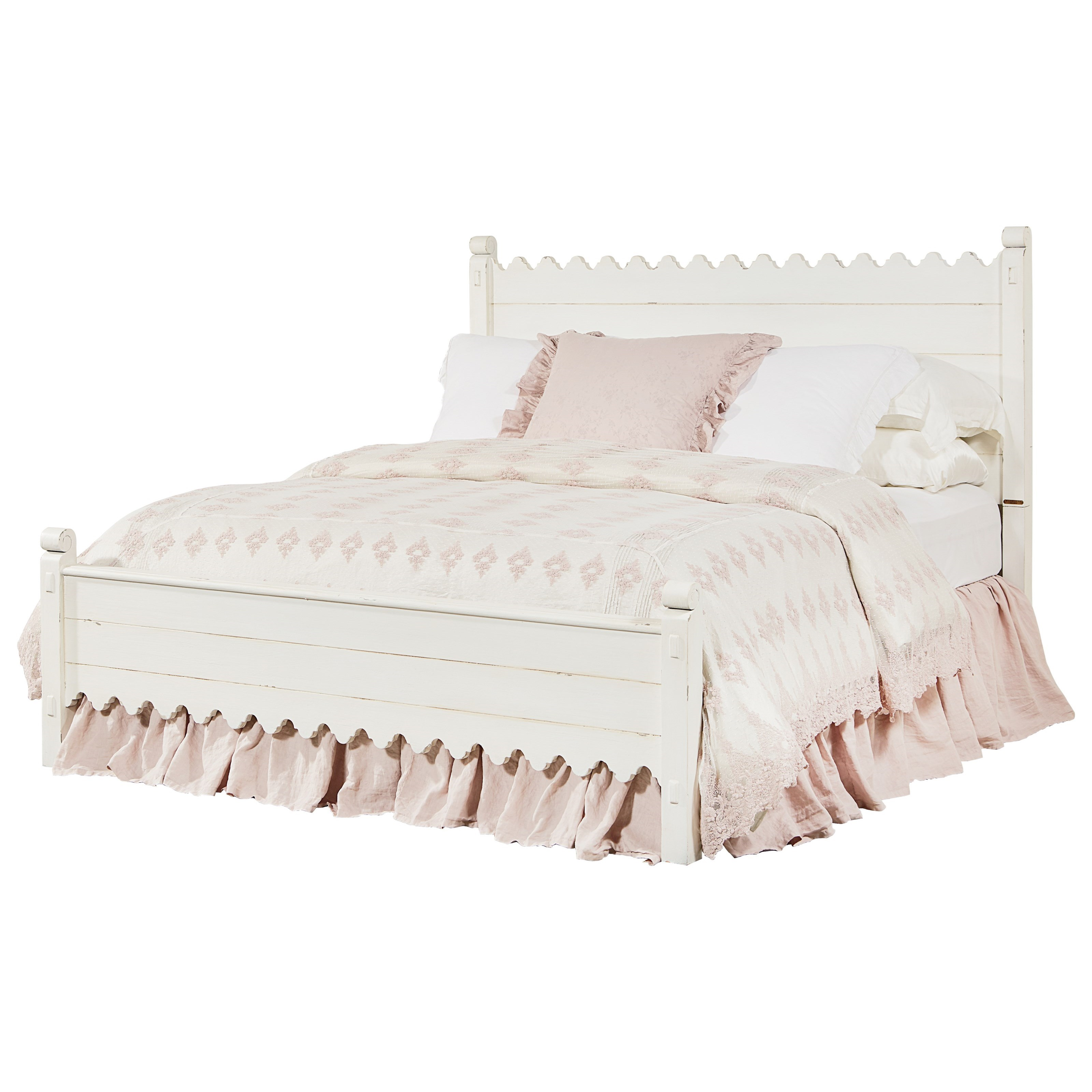 Magnolia home by joanna gaines farmhouse queen bed with for Home furniture beds