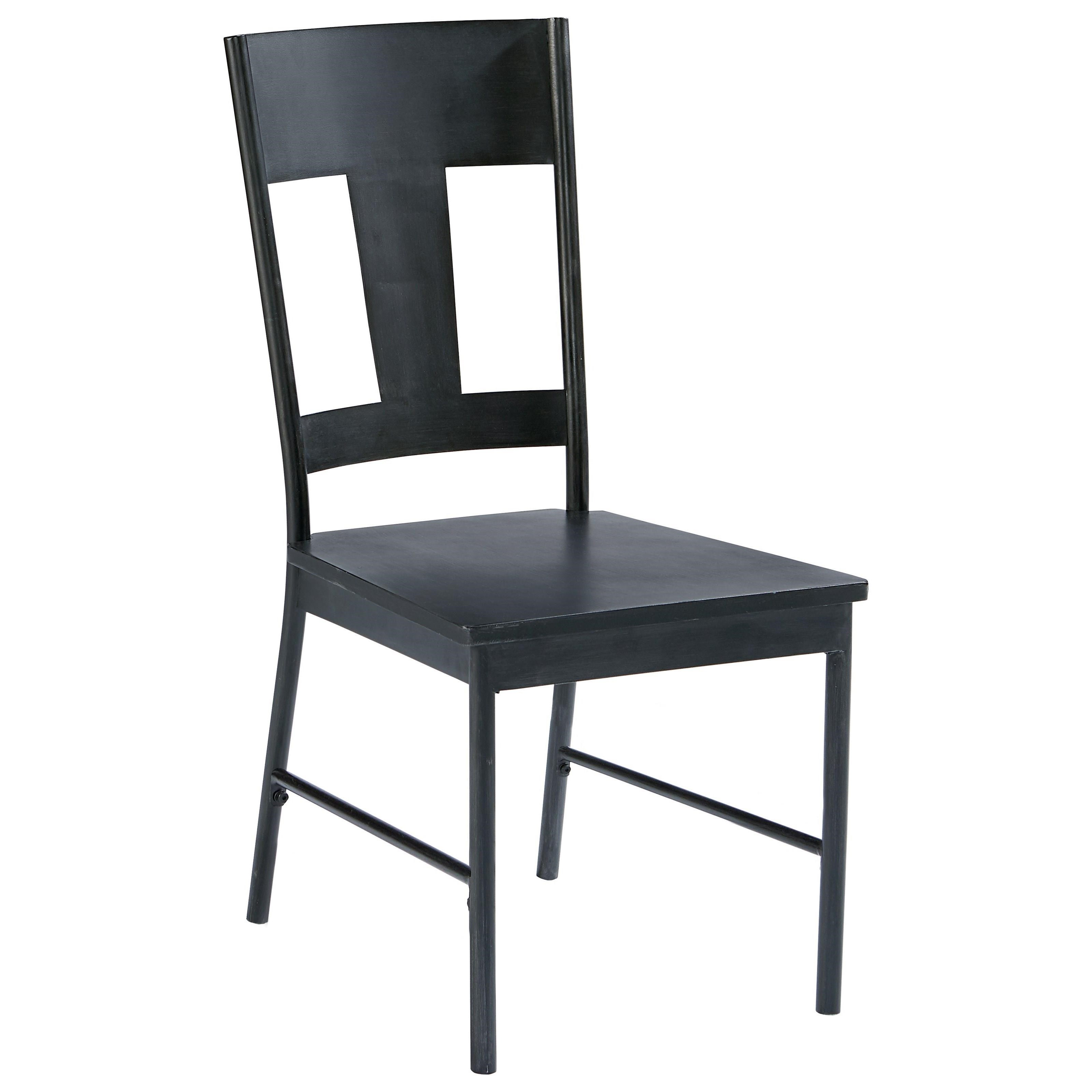 magnolia home by joanna gaines industrial metal side chair with carbon finish olinde 39 s. Black Bedroom Furniture Sets. Home Design Ideas
