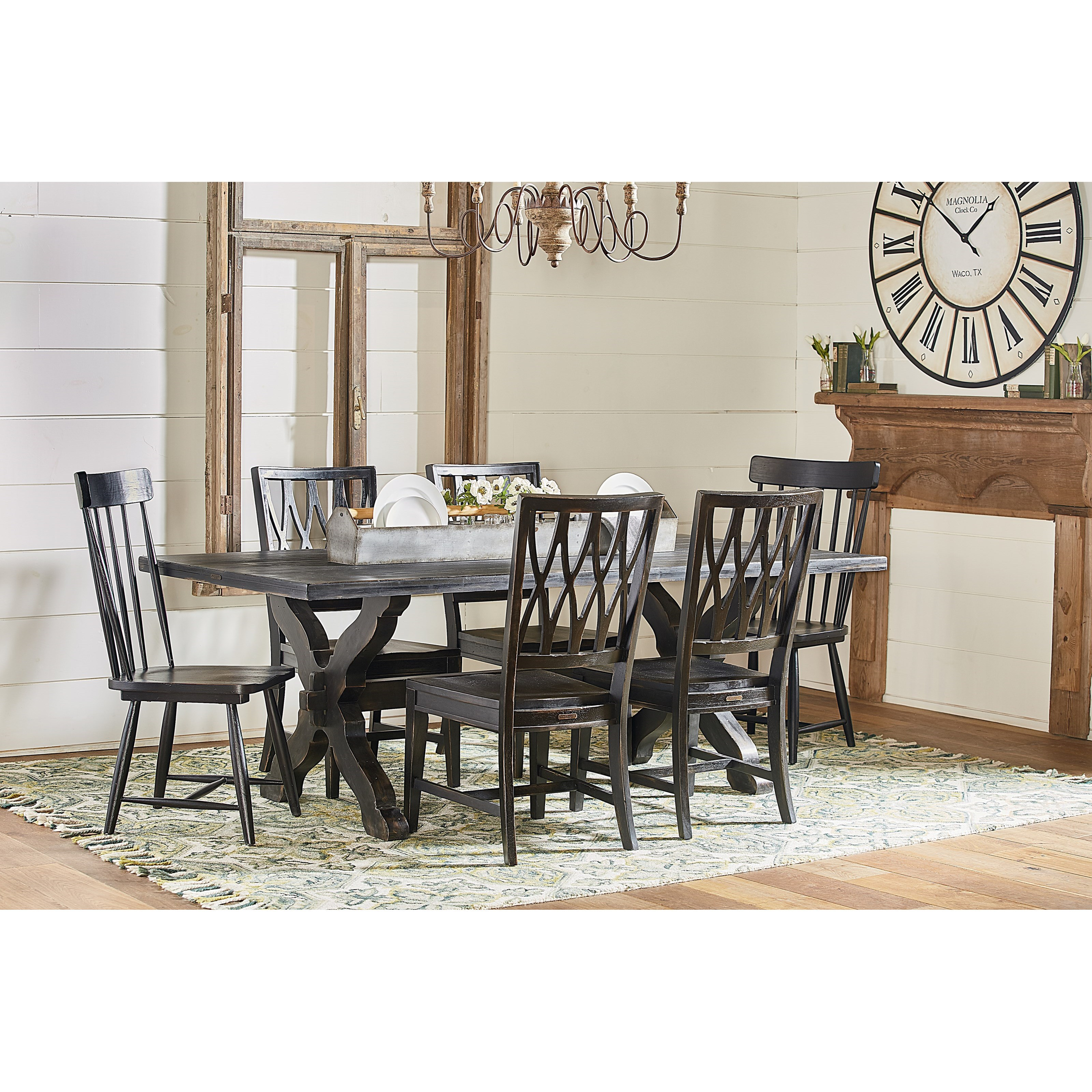 Magnolia Home By Joanna Gaines Primitive Sawbuck Dining Table Set Great Ame