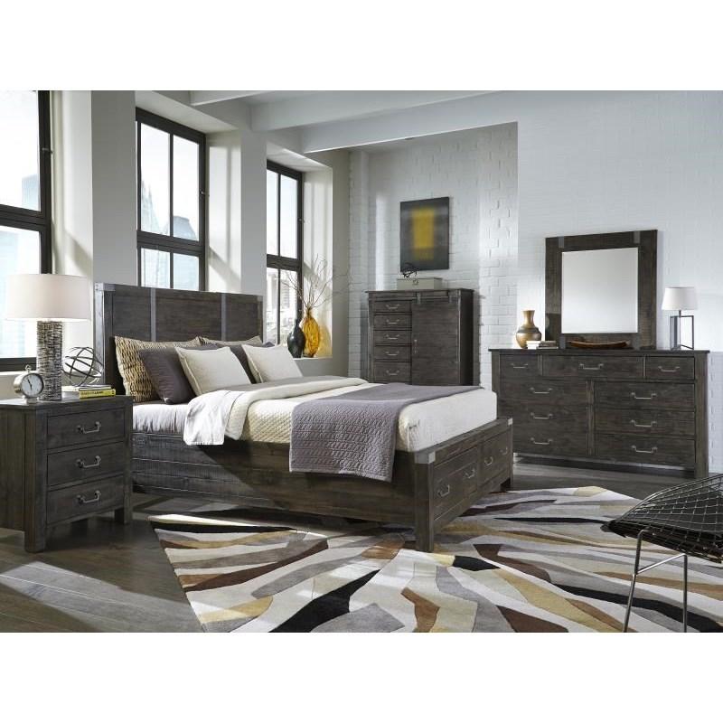 Magnussen home abington queen storage bedroom group for Bedroom groups