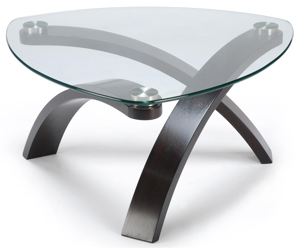 Belfort select allure cocktail table with glass top and for Glass coffee table with wood