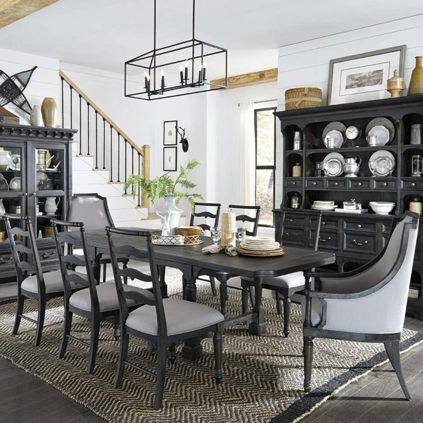 magnussen home bedford corners table with 2 breadboard leaves 6 side chairs and 2 host chairs. Black Bedroom Furniture Sets. Home Design Ideas