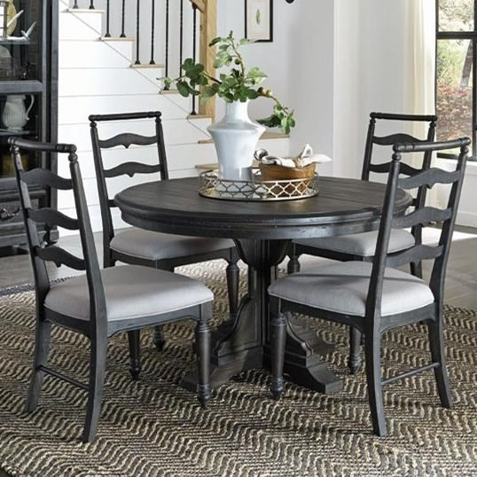 magnussen home bedford corners single pedestal round dining table with 4 side chairs dunk. Black Bedroom Furniture Sets. Home Design Ideas