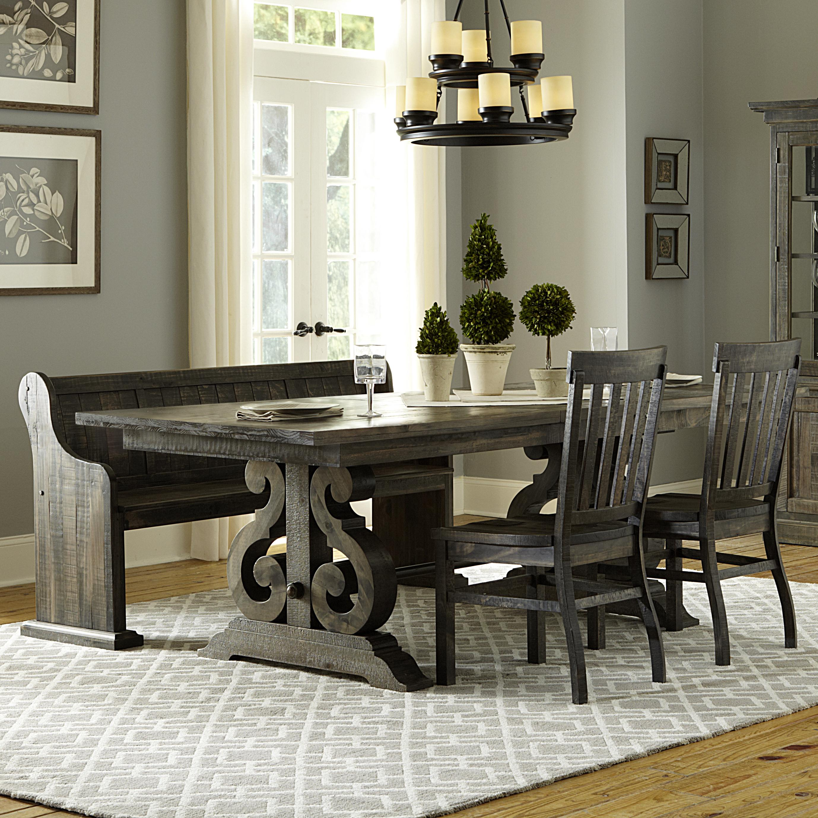 magnussen home bellamy transitional four piece weathered gray dining set with butterfly. Black Bedroom Furniture Sets. Home Design Ideas