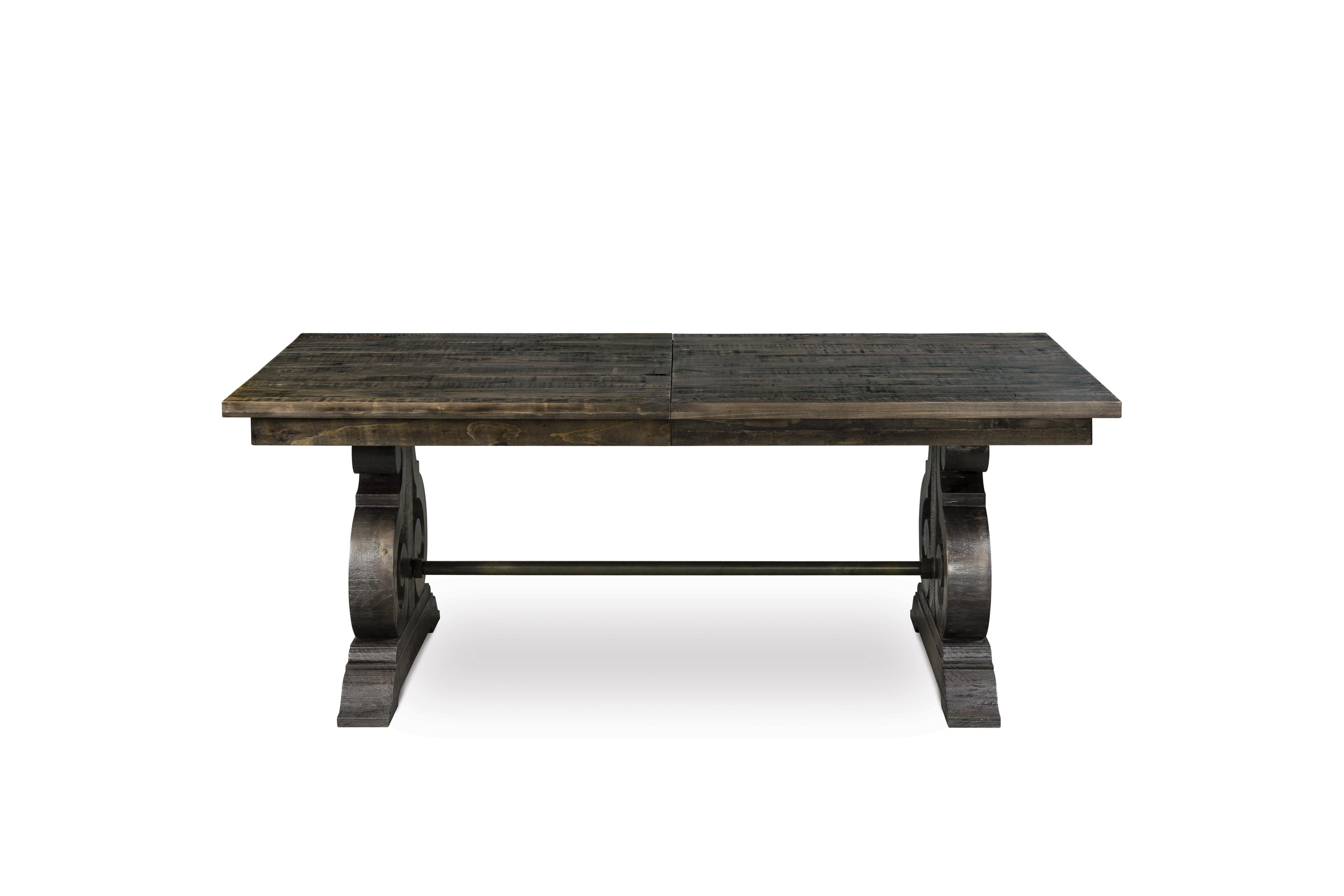 Magnussen home bellamy transitional double pedestal dining for Rectangular dining room tables with leaves