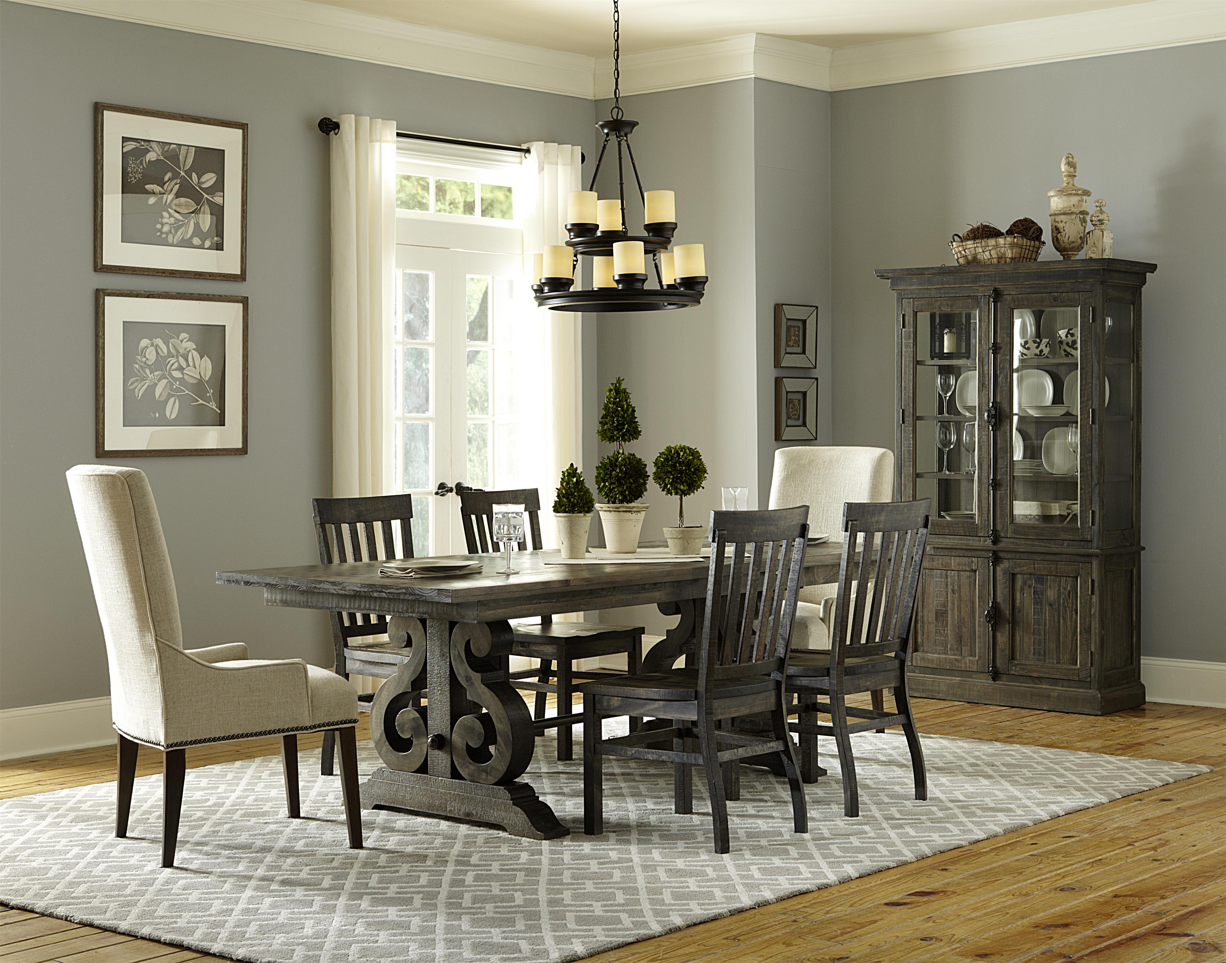 magnussen home bellamy transitional double pedestal dining table with two butterfly extension. Black Bedroom Furniture Sets. Home Design Ideas