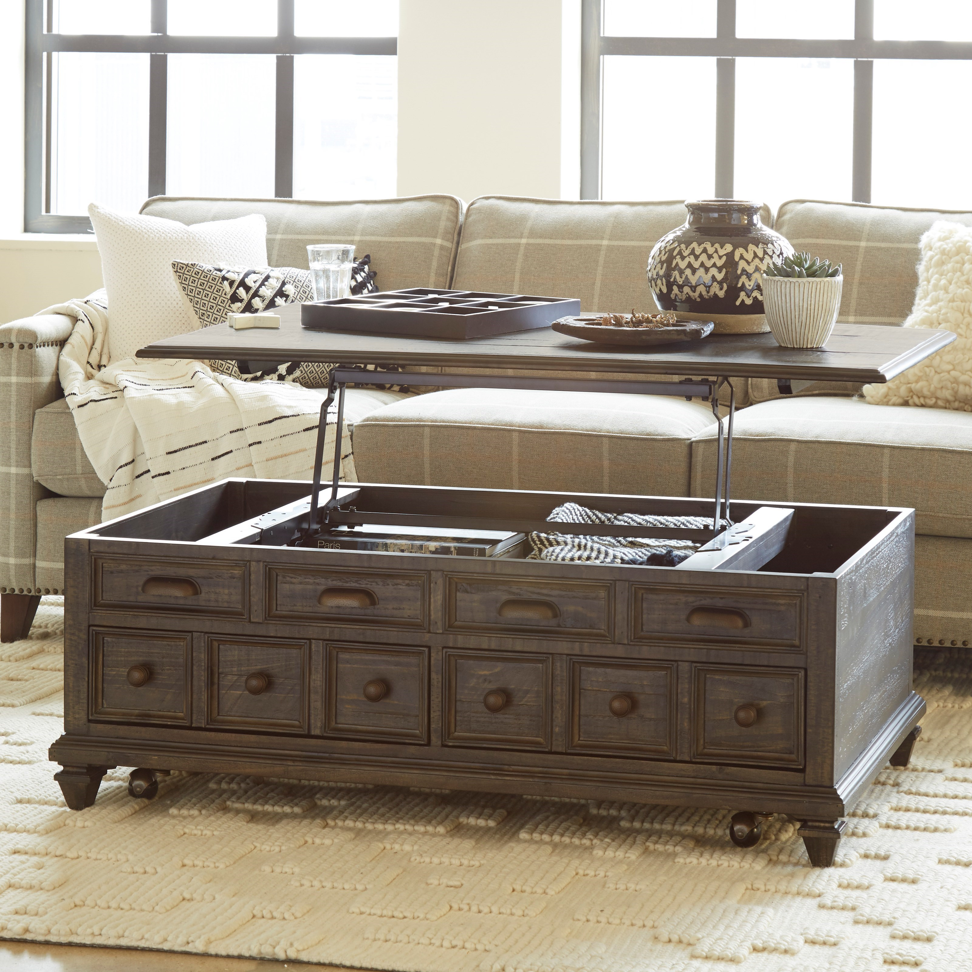 magnussen home burkhardt rustic lift top cocktail table with casters conlin 39 s furniture. Black Bedroom Furniture Sets. Home Design Ideas
