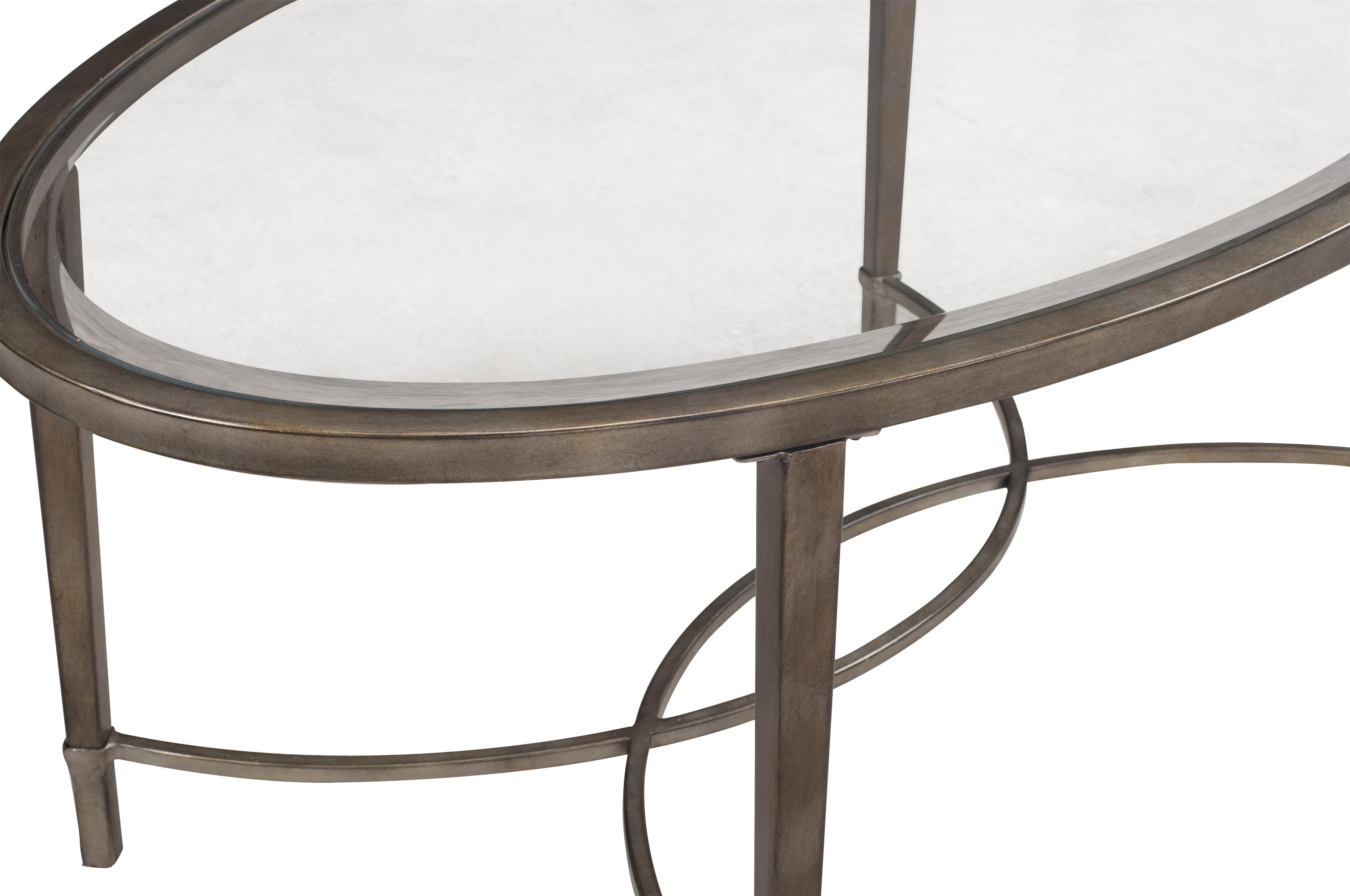 Magnussen home copia metal and glass oval cocktail table for Cocktail table 47
