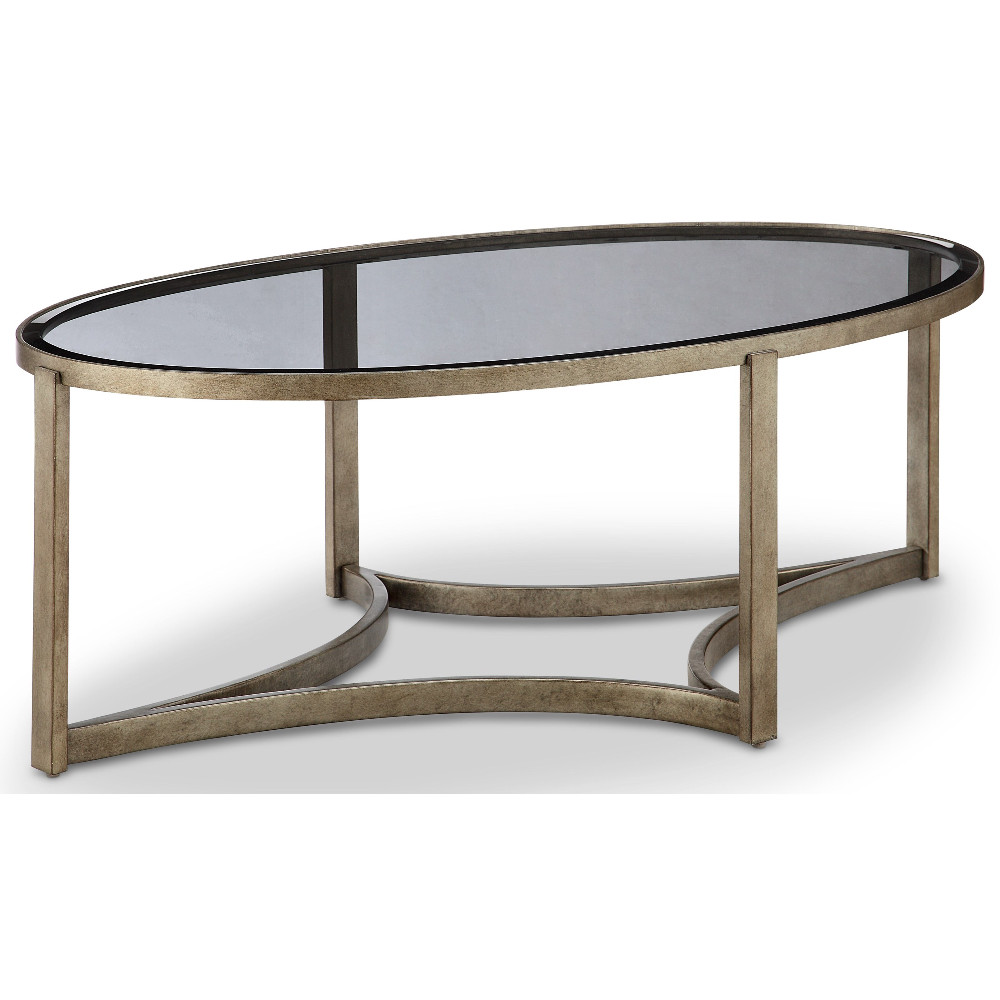 Magnussen home frisco oval cocktail table with metal frame for Table 52 drink menu