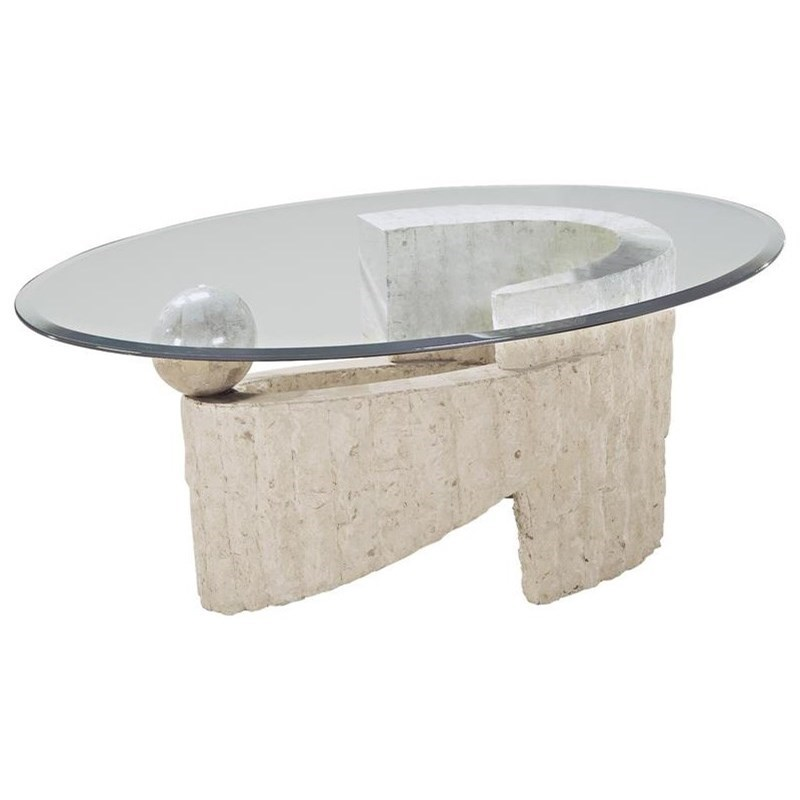 Magnussen Home Ponte Vedra Contemporary Oval Glass Cocktail Table Knight Furniture Mattress