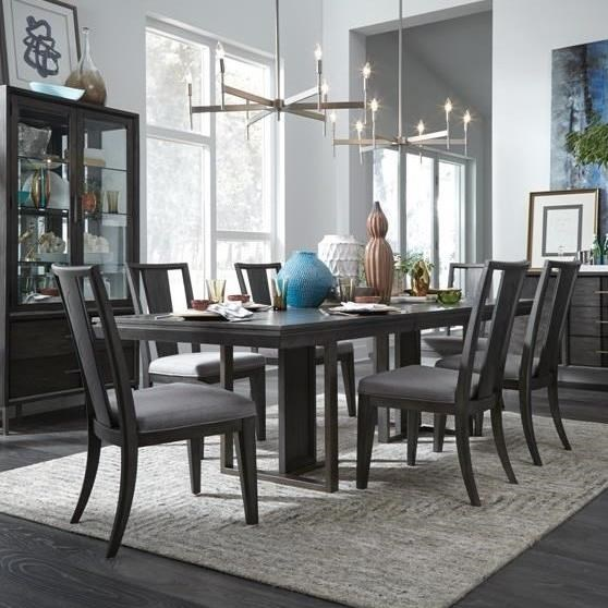 magnussen home proximity heights dining modern rectangular table and six chair set miskelly. Black Bedroom Furniture Sets. Home Design Ideas